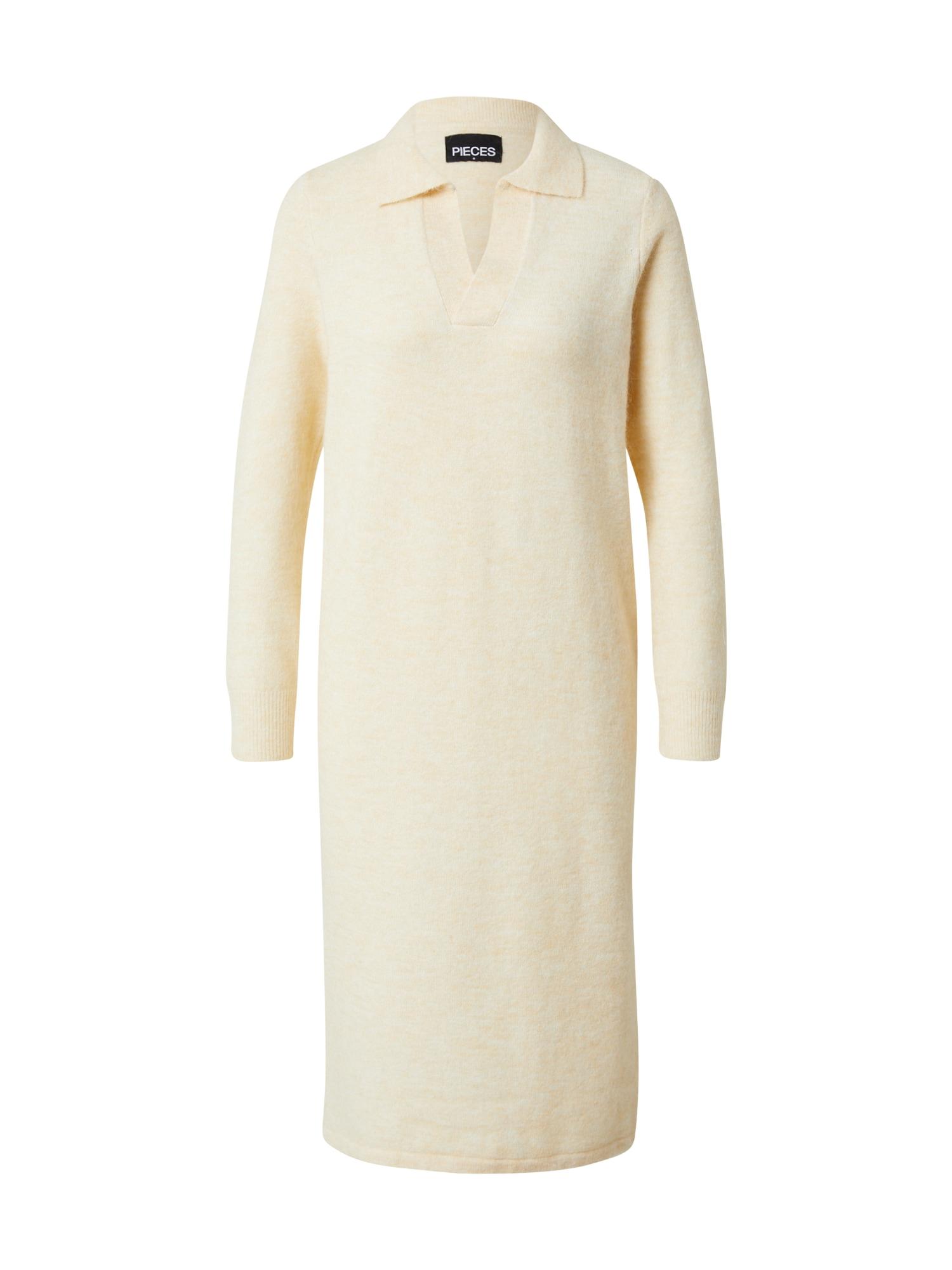 PIECES Úpletové šaty 'LAVIA'  béžová