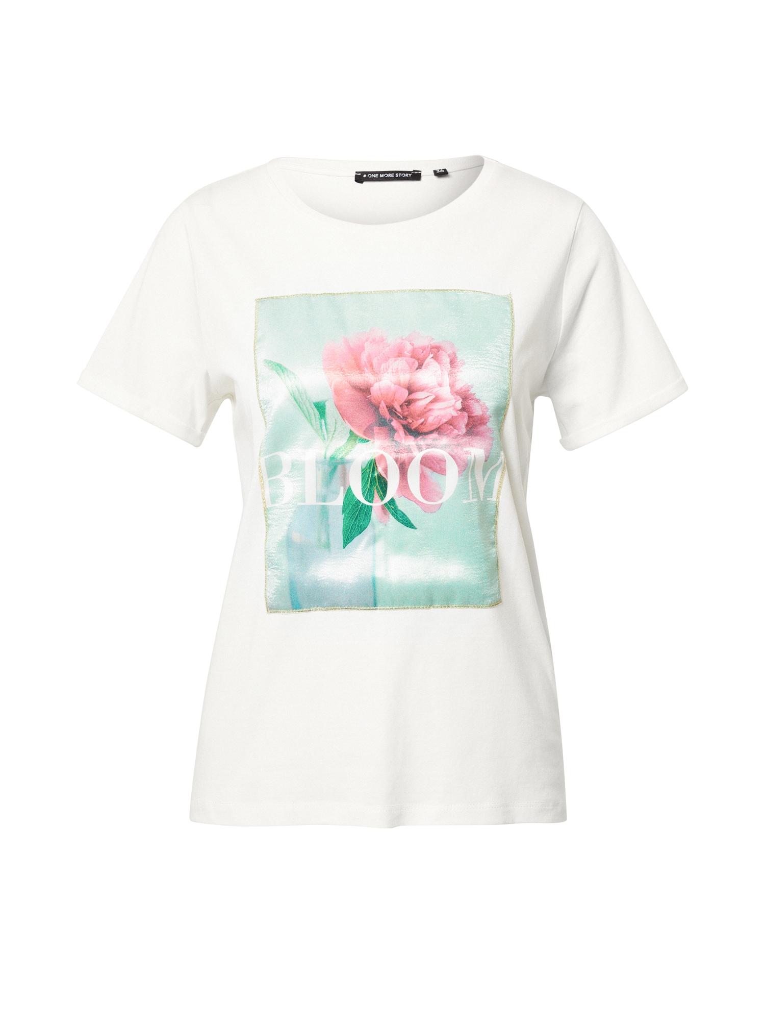 ONE MORE STORY Marškinėliai natūrali balta / mėtų spalva / rožių spalva