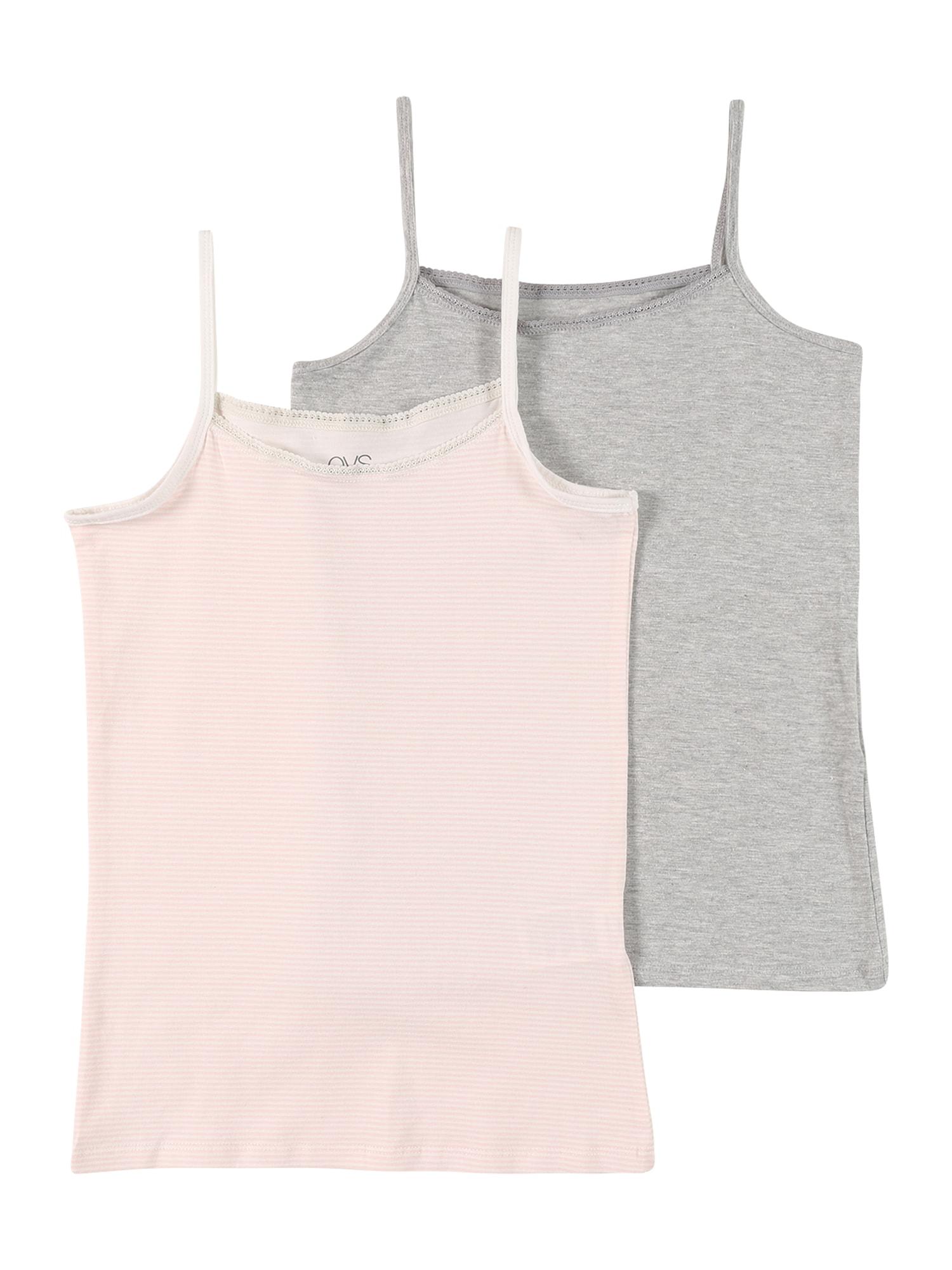 OVS Apatiniai marškinėliai margai pilka / rožių spalva