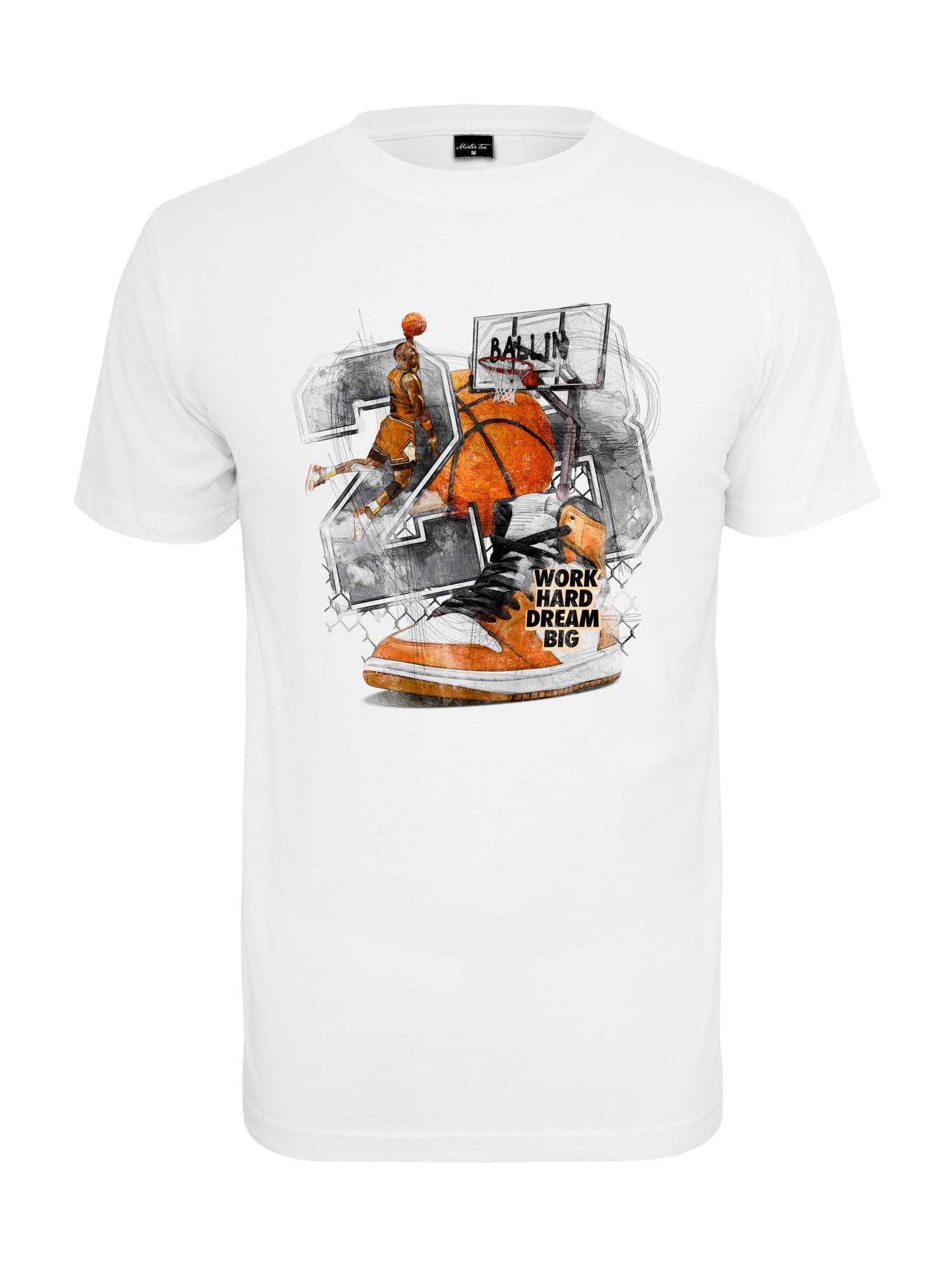 Mister Tee Marškinėliai balta / antracito spalva / oranžinė