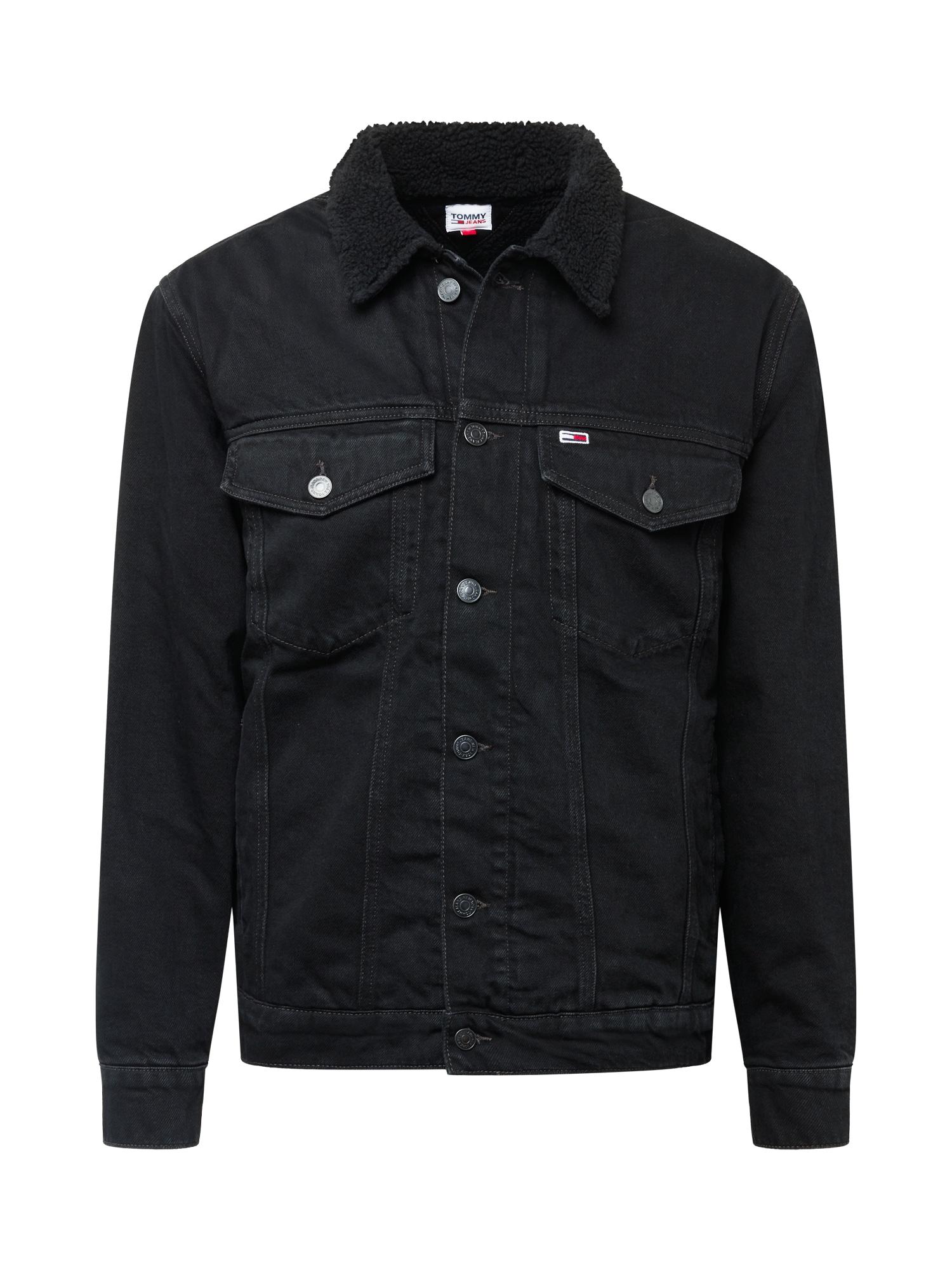 Tommy Jeans Demisezoninė striukė 'SHERPA' juodo džinso spalva
