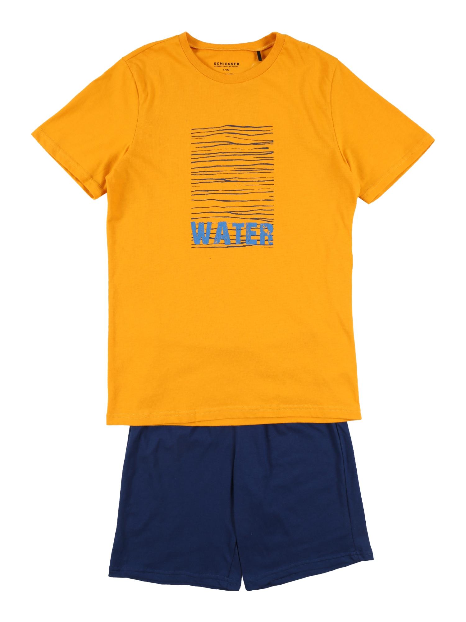 SCHIESSER Pyžamo  zlatě žlutá / námořnická modř