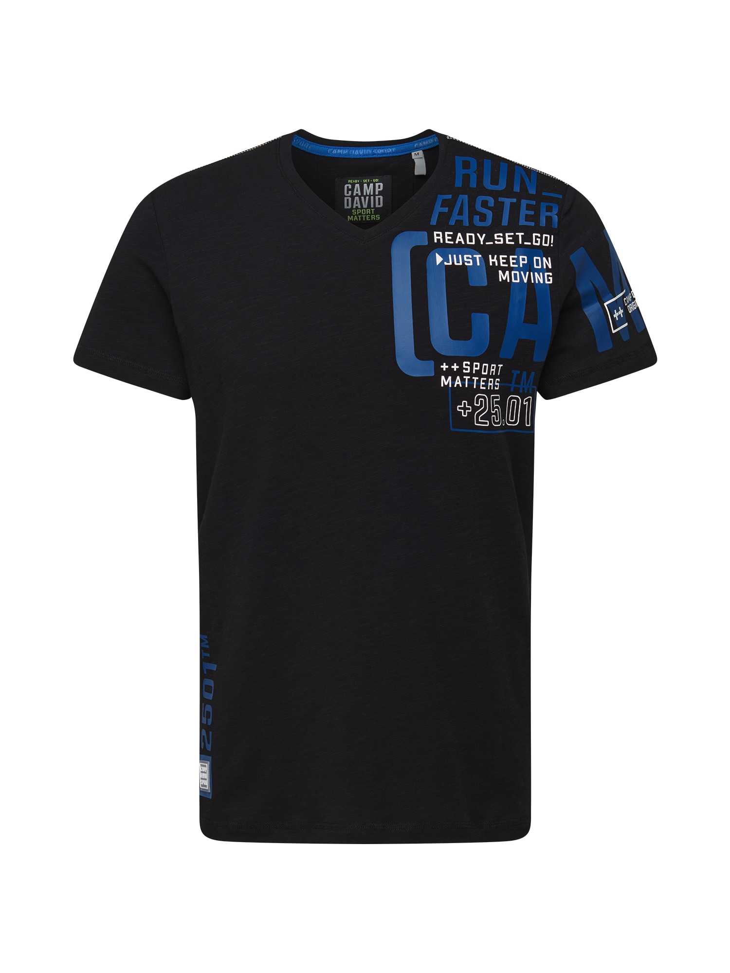 CAMP DAVID Marškinėliai juoda / mėlyna / balta