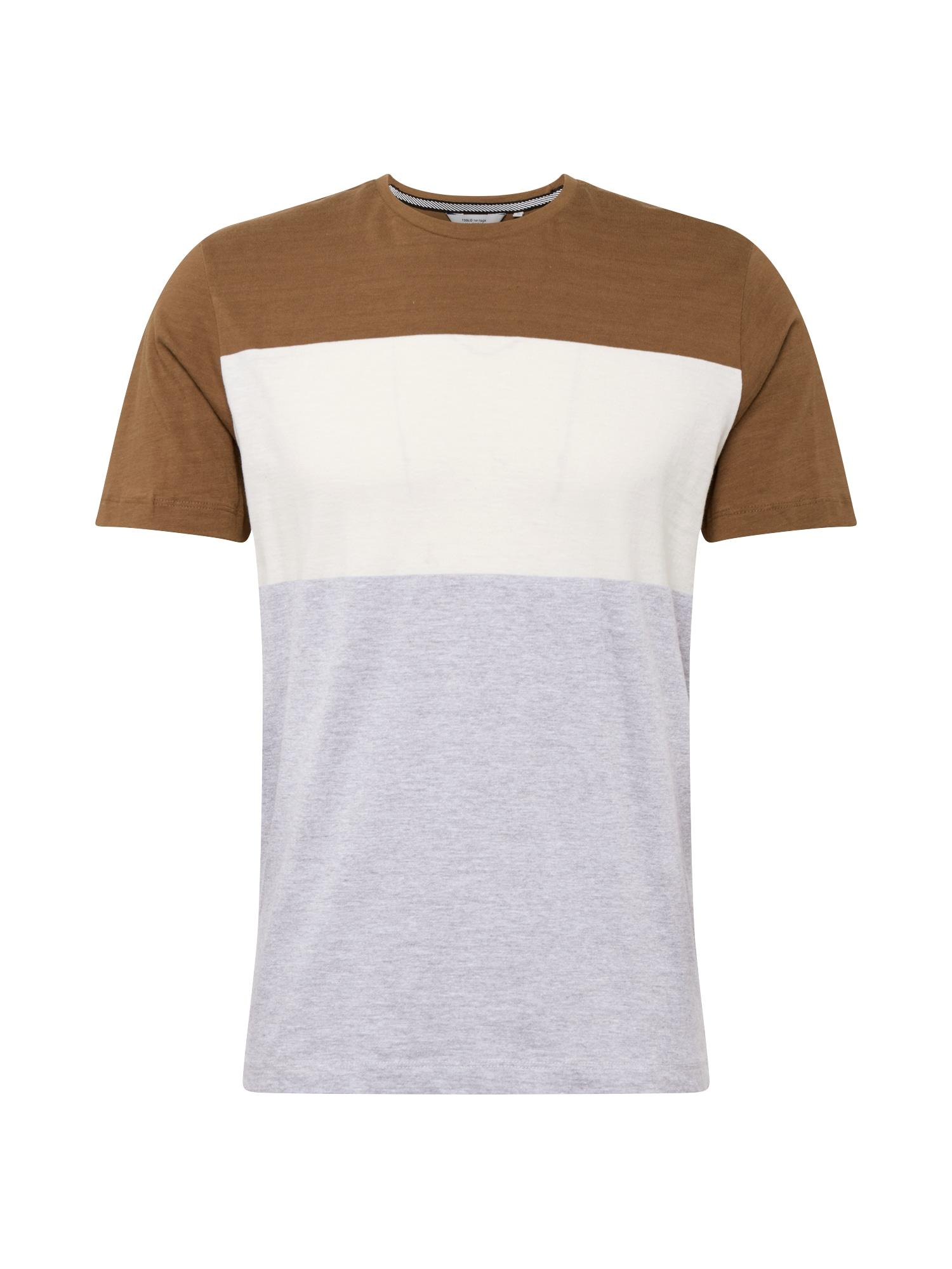 !Solid Tričko  hnědá / bílá / šedá