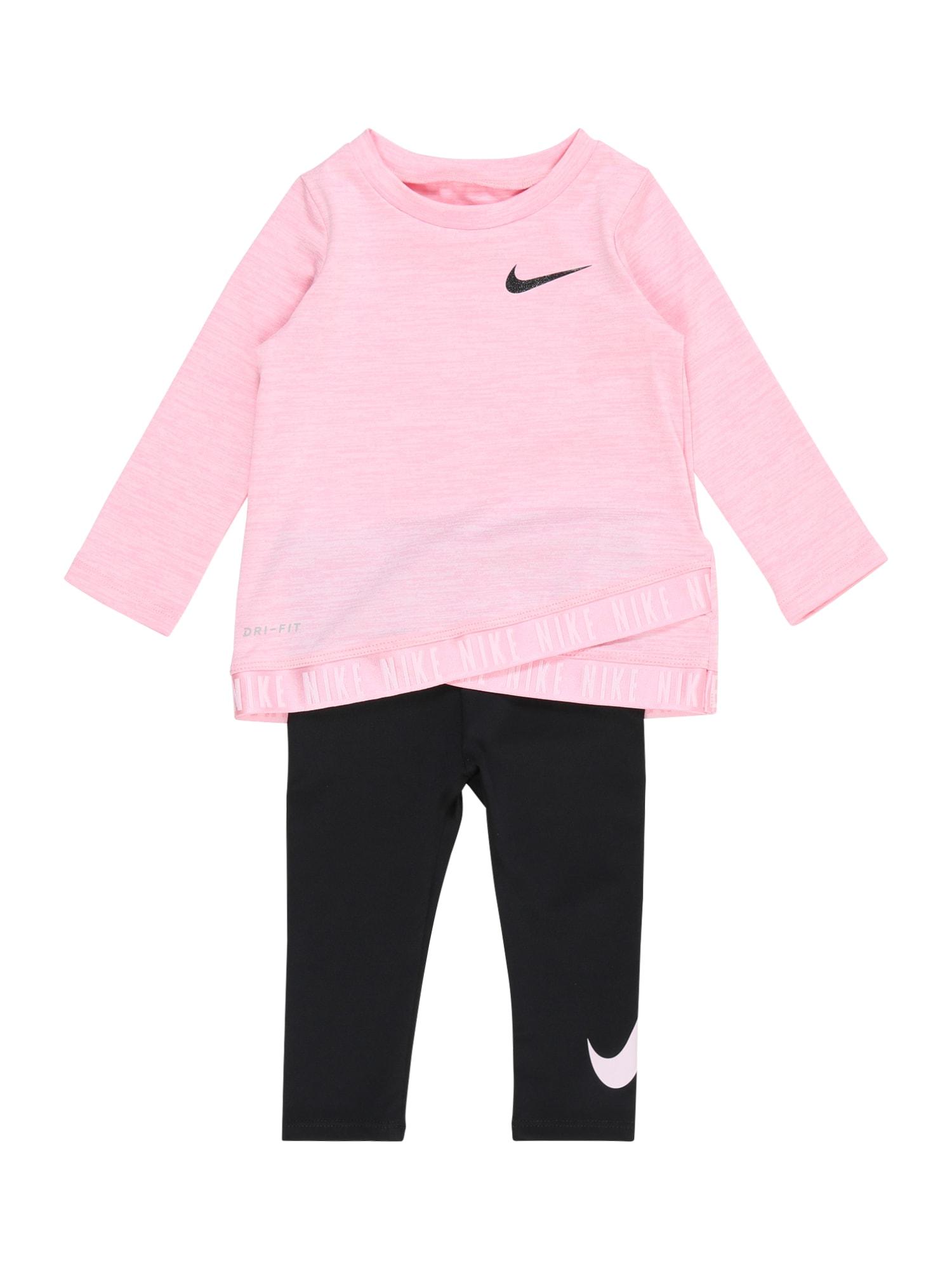 NIKE Sportinis kostiumas juoda / margai rožinė