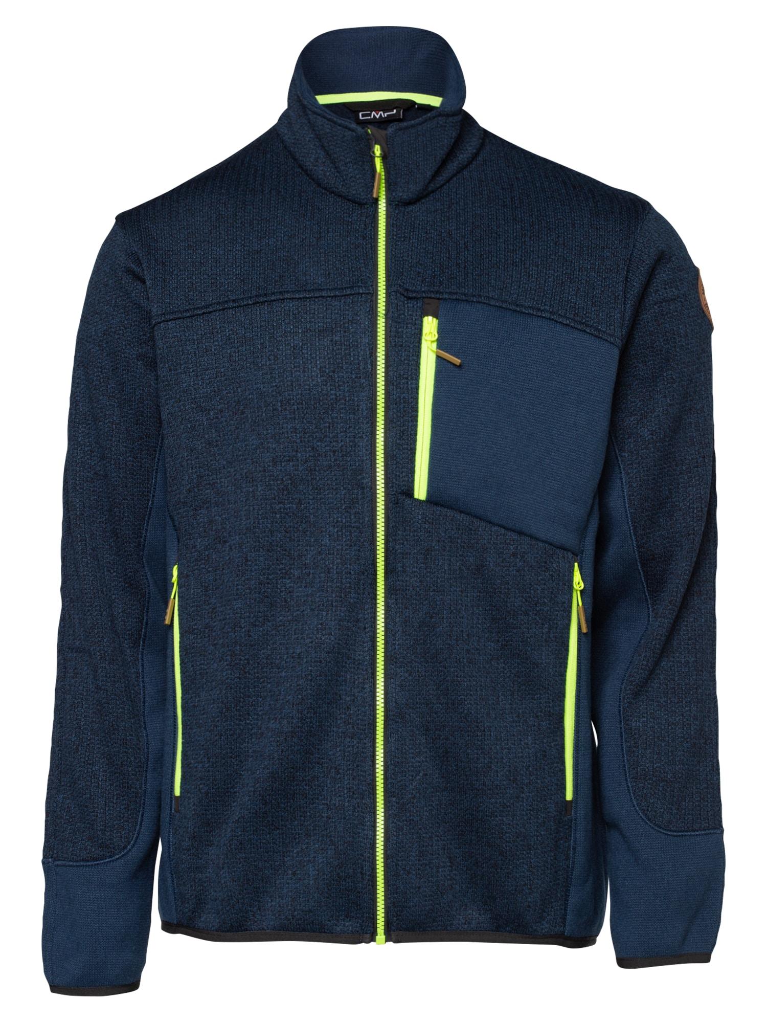 CMP Funkcinis flisinis džemperis mėlyna / tamsiai mėlyna / neoninė geltona