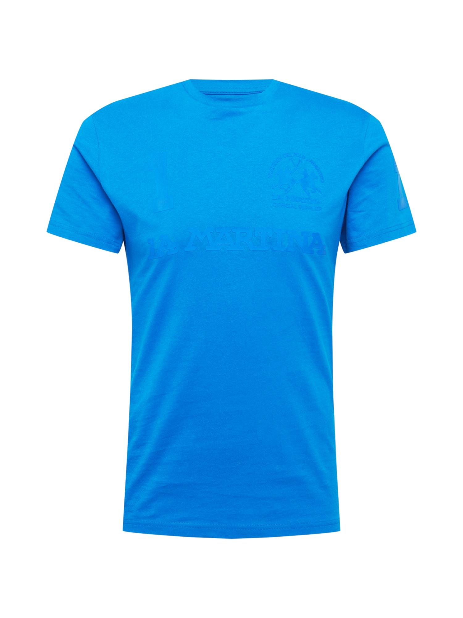 La Martina Marškinėliai neoninė mėlyna