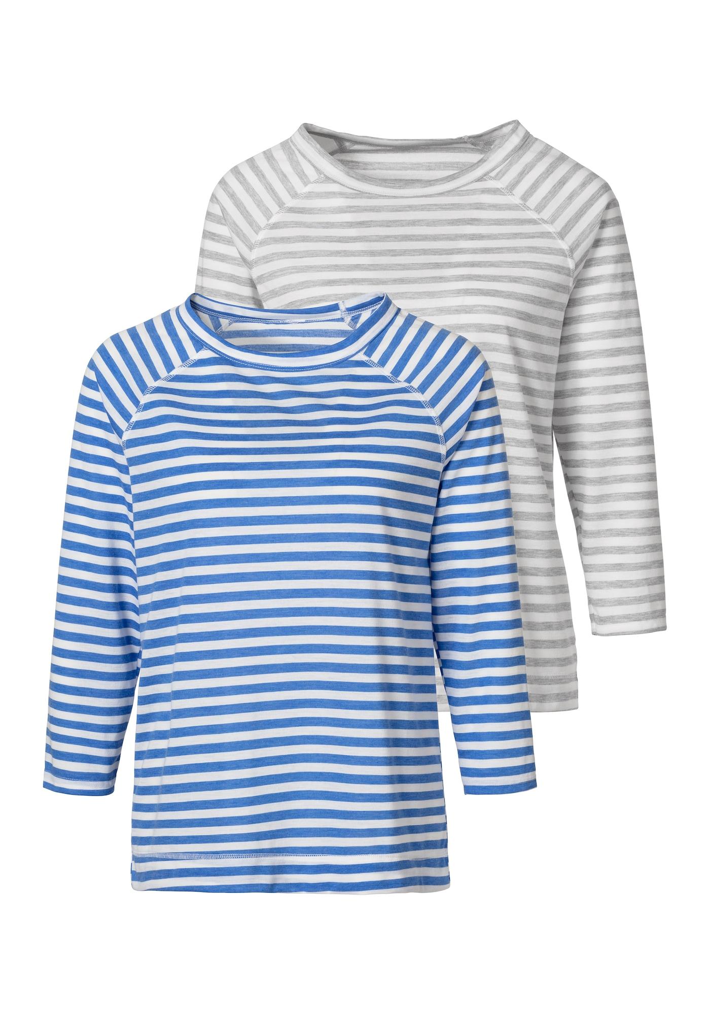 HIS JEANS Marškinėliai balta / dangaus žydra / pilka