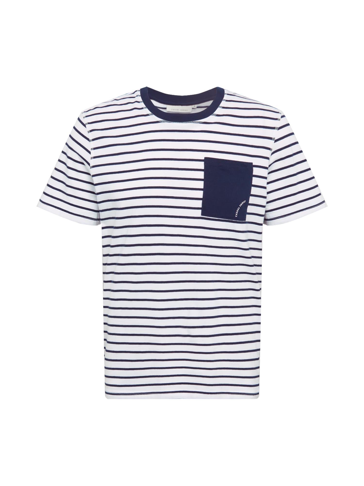 Casual Friday Marškinėliai balta / tamsiai mėlyna