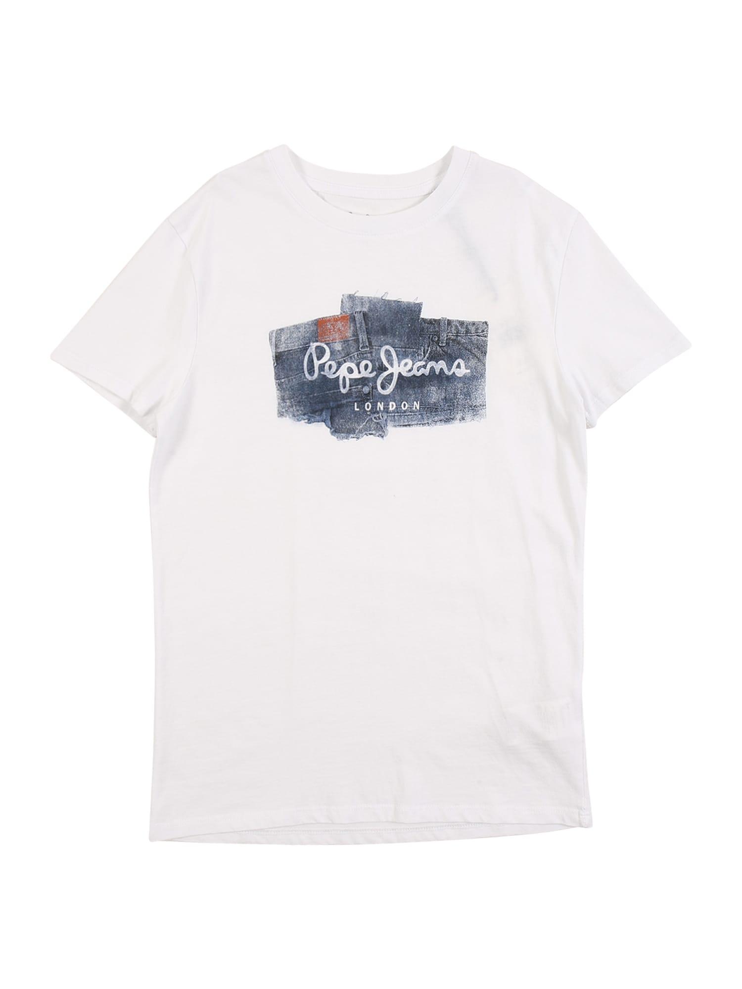Pepe Jeans Tričko 'Albert'  offwhite / chladná modrá / stříbrná