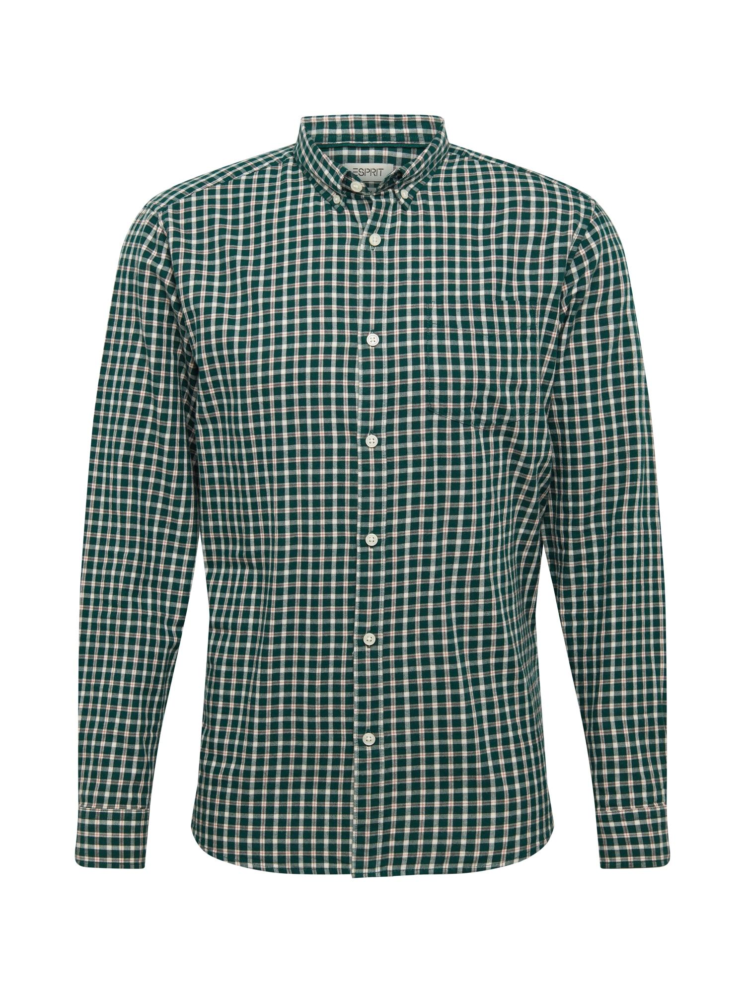 ESPRIT Marškiniai tamsiai žalia / balta / raudona
