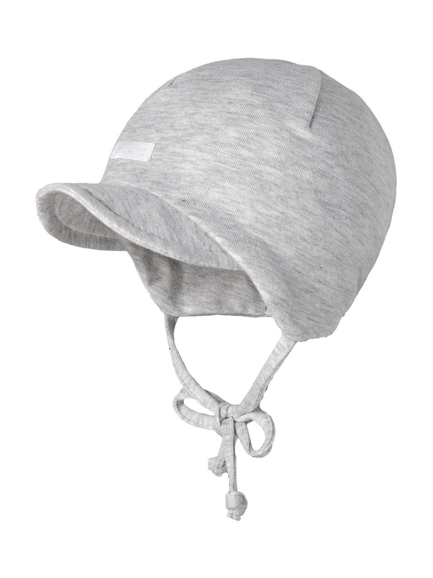 MAXIMO Megzta kepurė 'BABY-, Flatlock-Einsatz' pilka