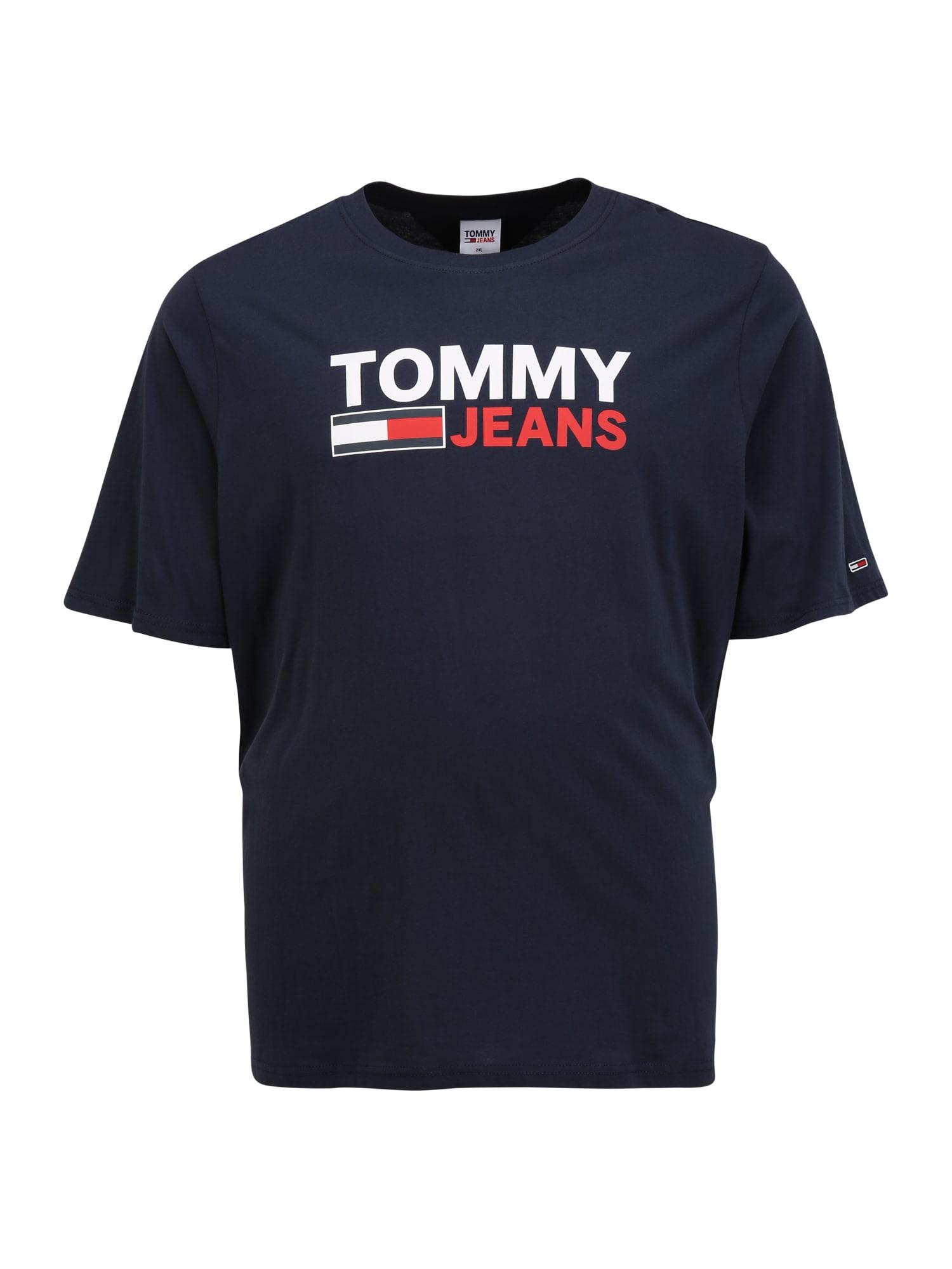 Tommy Jeans Plus Marškinėliai tamsiai mėlyna / balta / granatų spalva