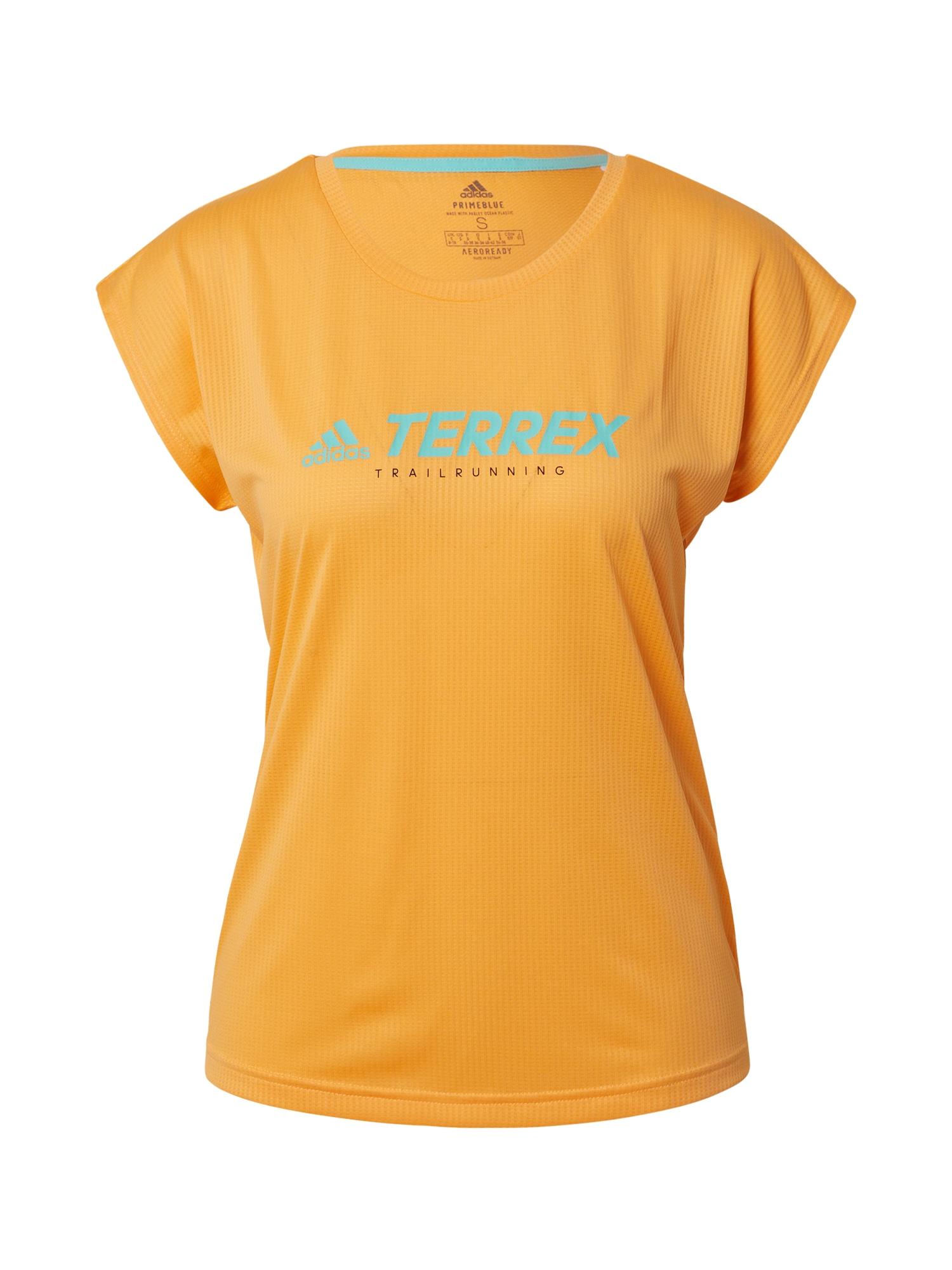 ADIDAS PERFORMANCE Sportiniai marškinėliai oranžinė / mėtų spalva