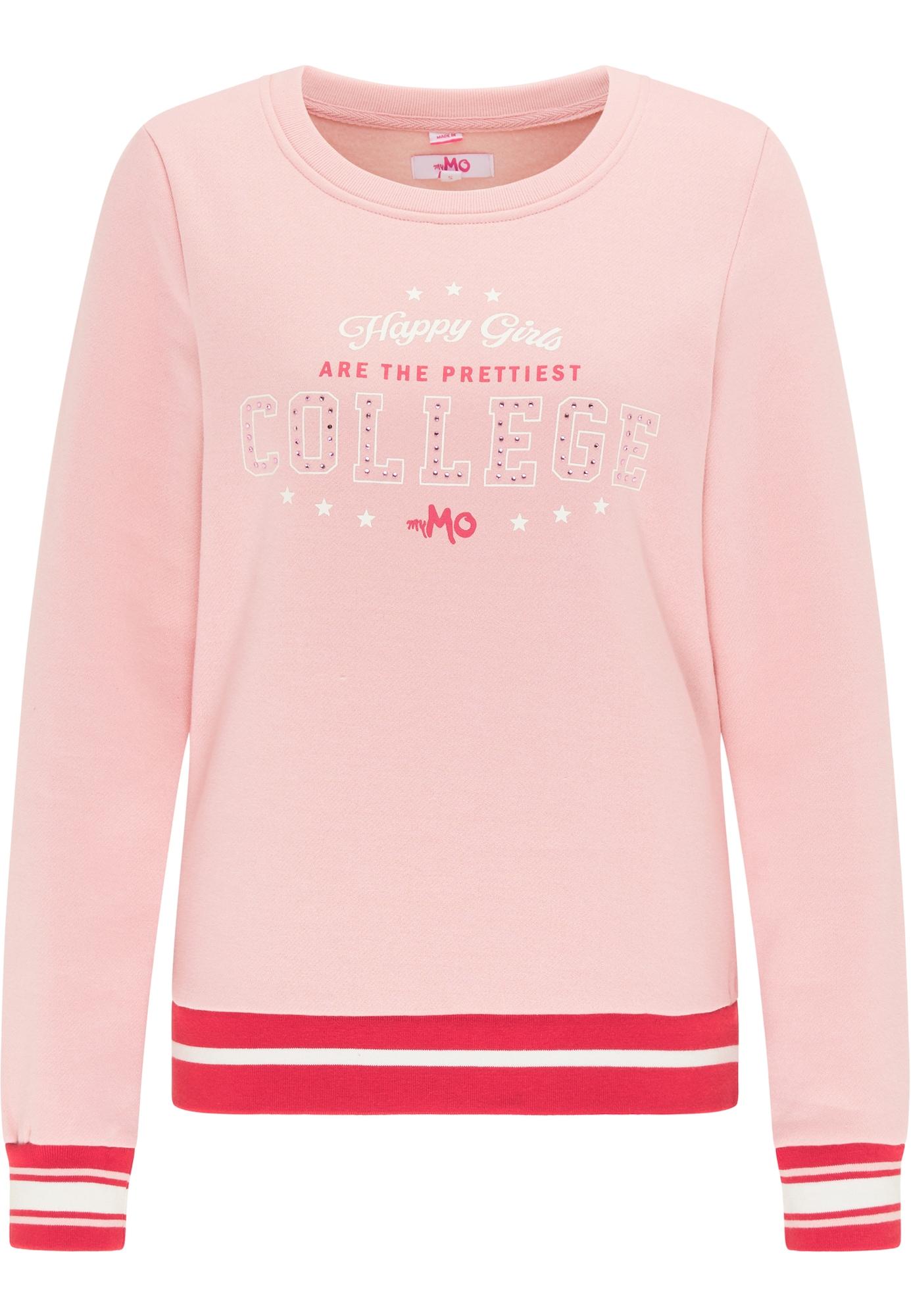 MYMO Megztinis be užsegimo balta / rožių spalva / šviesiai raudona