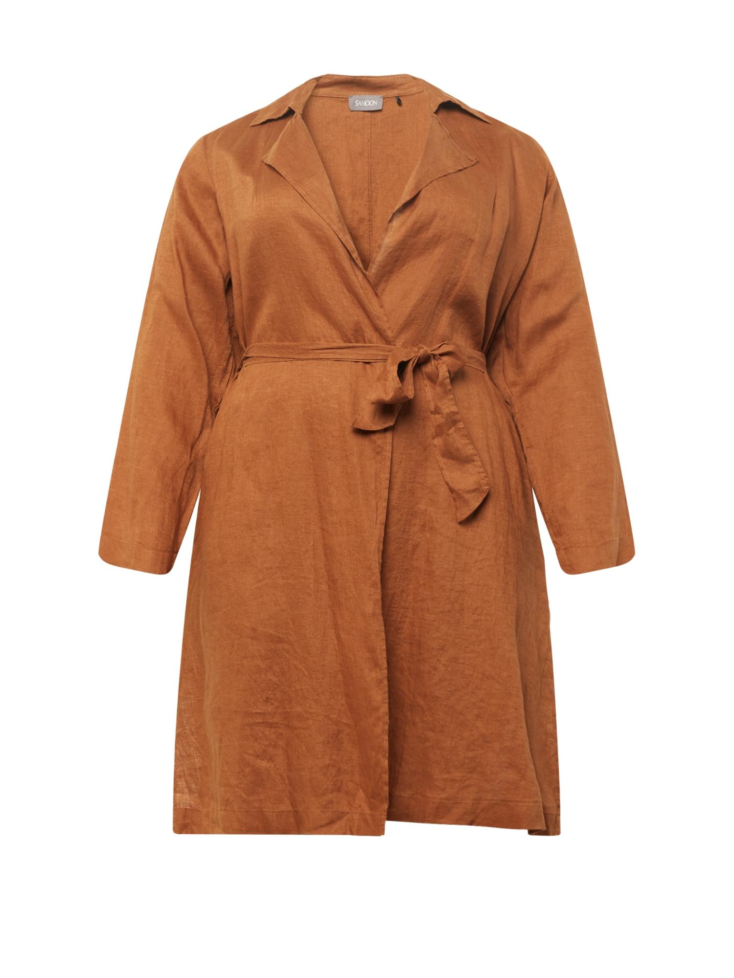 SAMOON Tenký kabát  koňaková