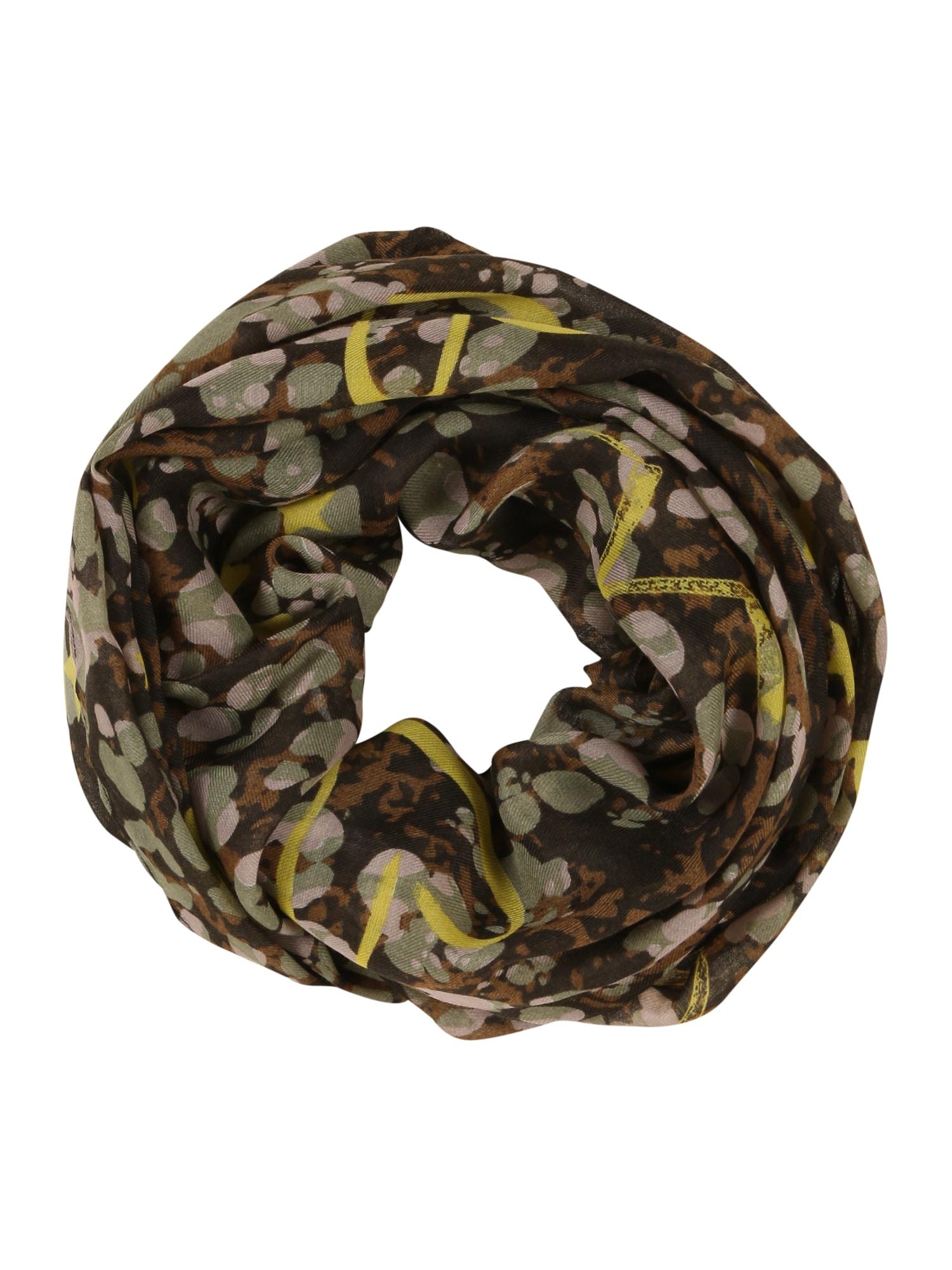 CODELLO Kruhová šála 'NATURE LOVERS'  černá / olivová / žlutá / hnědá