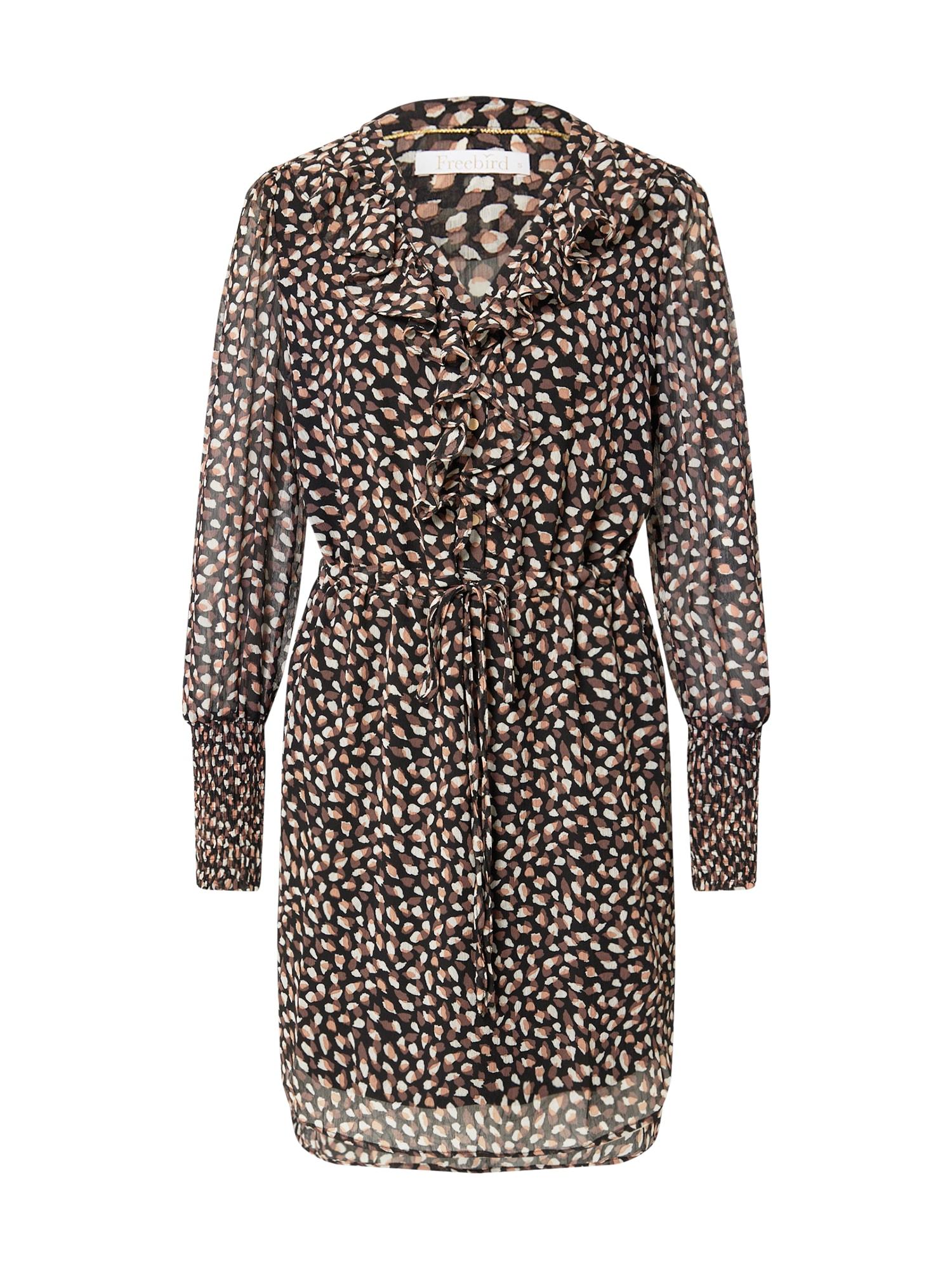 Freebird Palaidinės tipo suknelė ruda / juoda / balta / pudros spalva