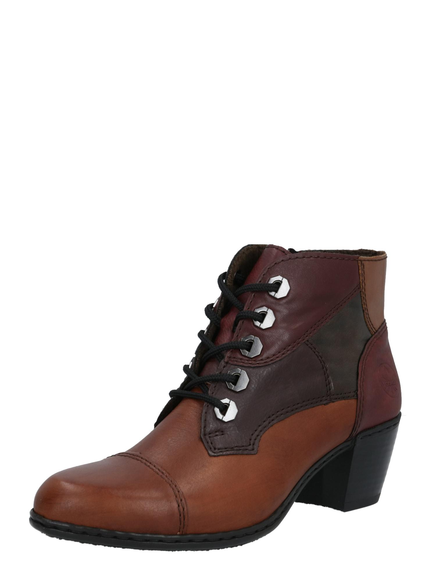 RIEKER Kulkšnis dengiantys batai ruda / ruda (konjako) / vyšninė spalva