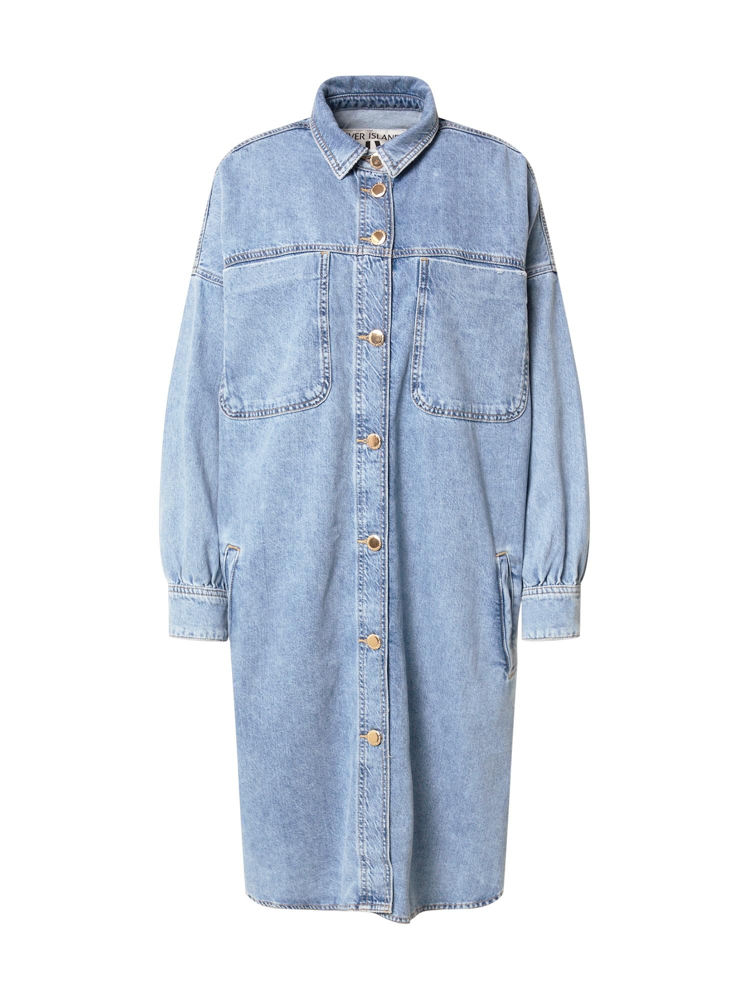 River Island Košilové šaty  modrá džínovina