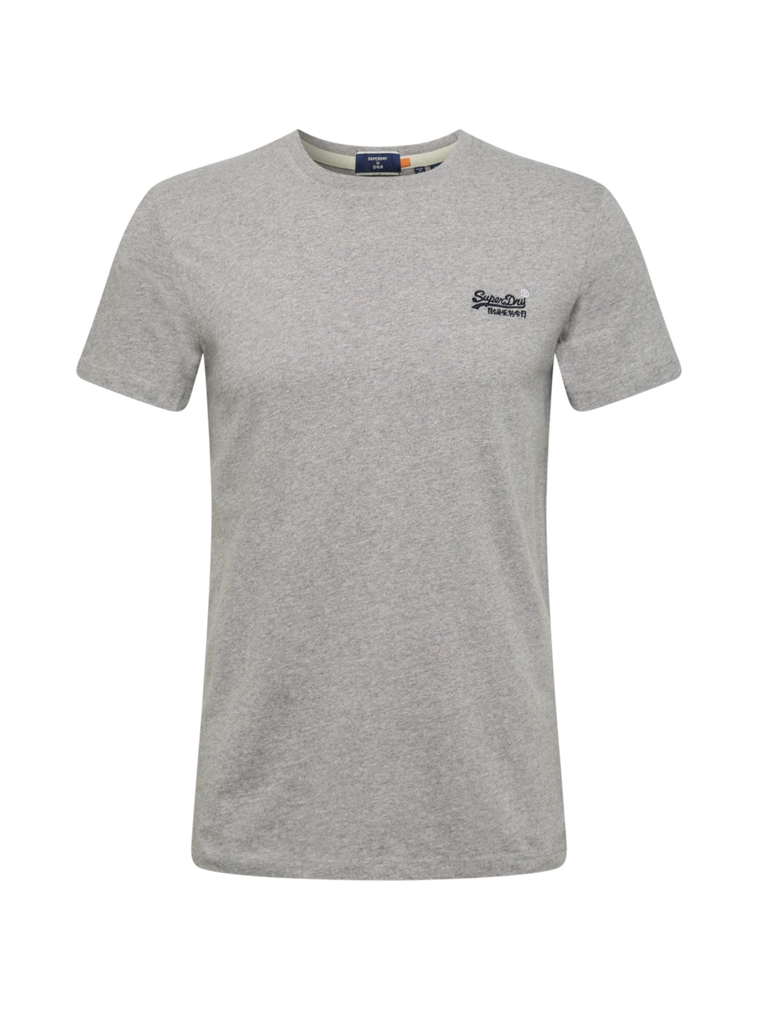 Superdry Marškinėliai tamsiai mėlyna / margai pilka