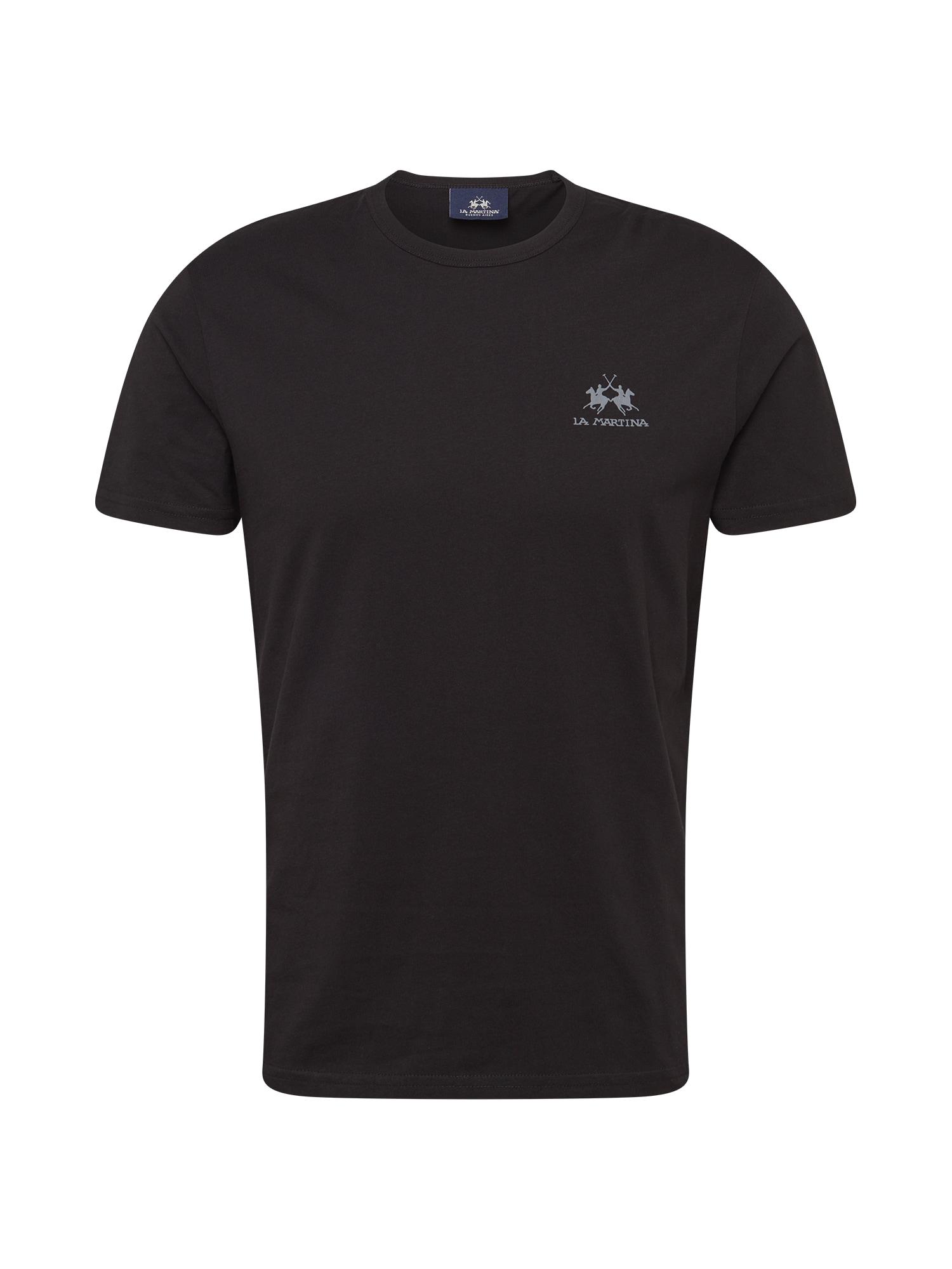 La Martina Marškinėliai juoda / pilka