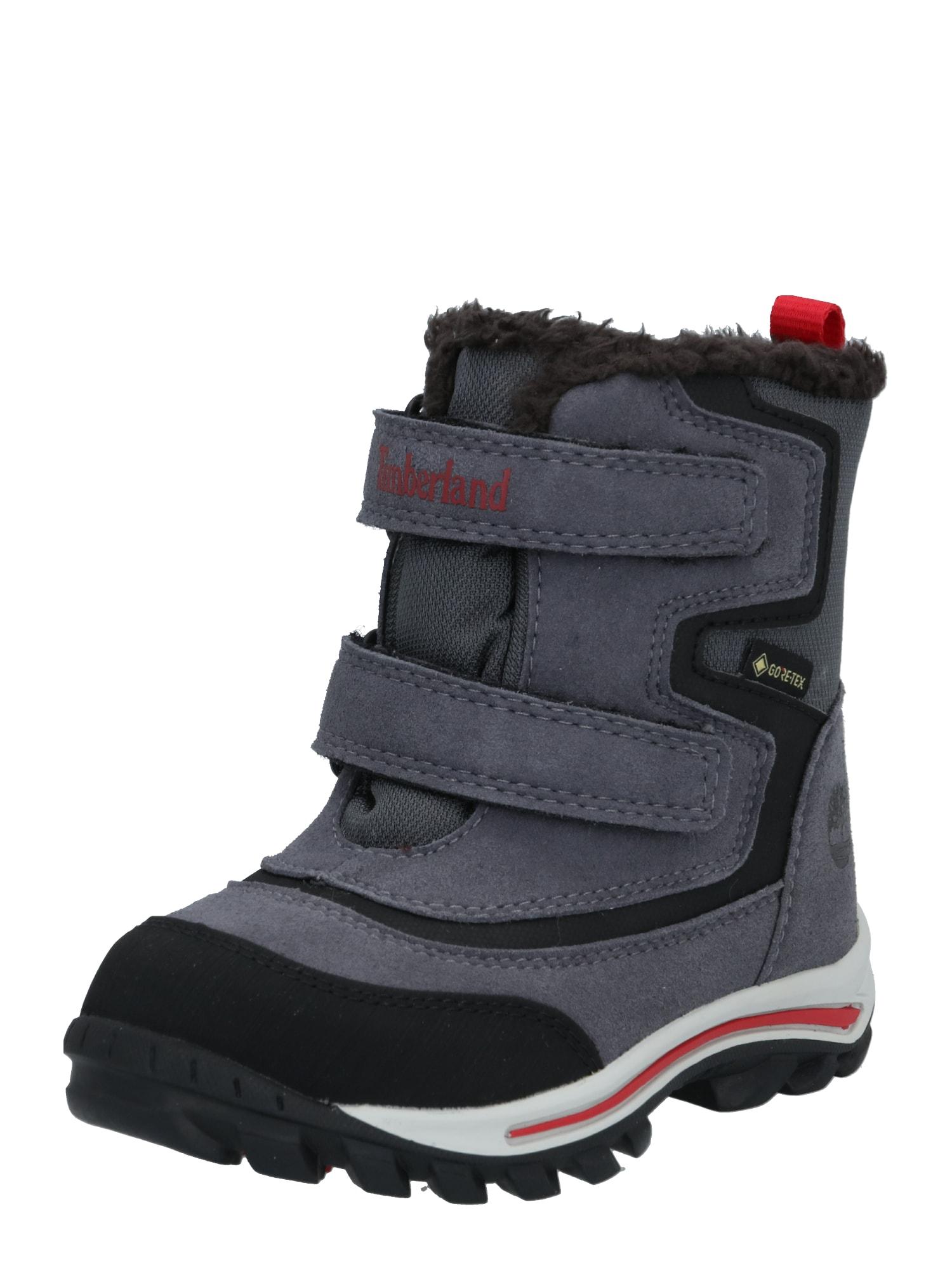 TIMBERLAND Sniego batai pilka / juoda / raudona