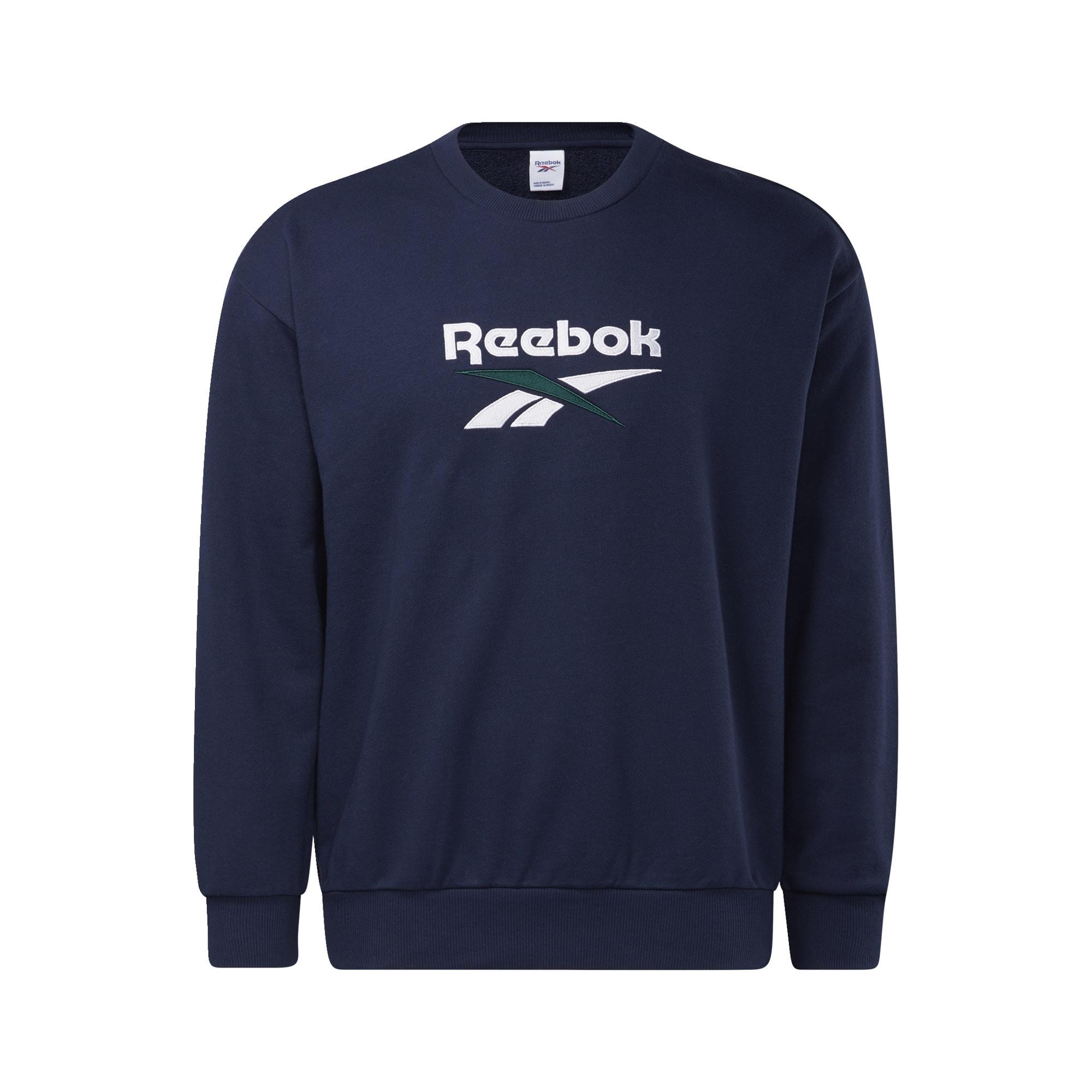 REEBOK Sportinio tipo megztinis tamsiai mėlyna / balta
