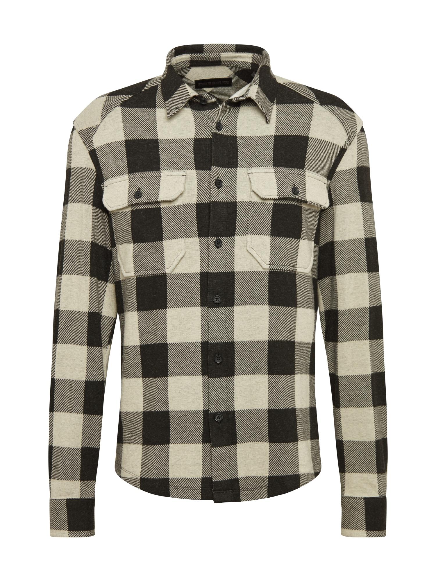 DRYKORN Marškiniai juoda / nebalintos drobės spalva