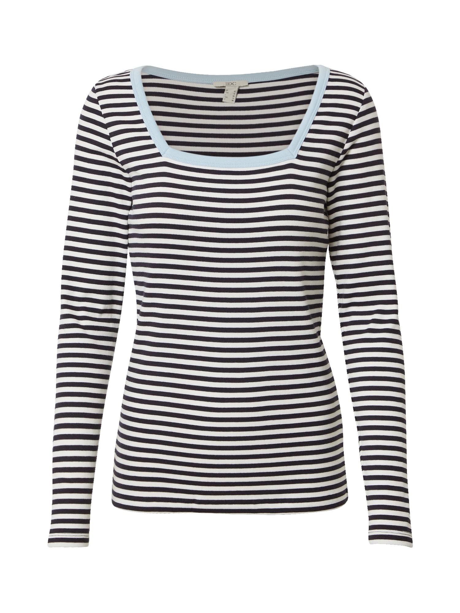 EDC BY ESPRIT Marškinėliai mėlyna / balta / šviesiai mėlyna