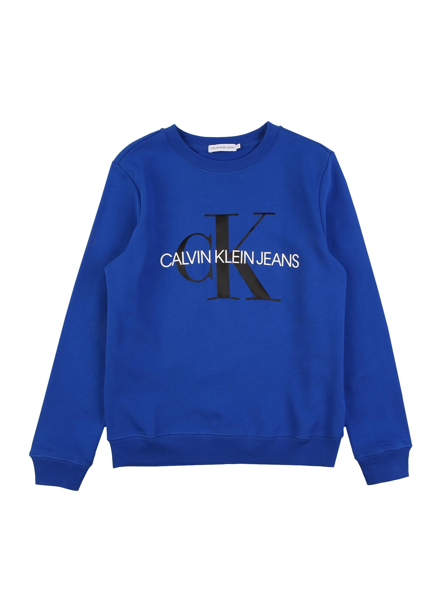 Calvin Klein Jeans Mikina  modrá / černá / bílá