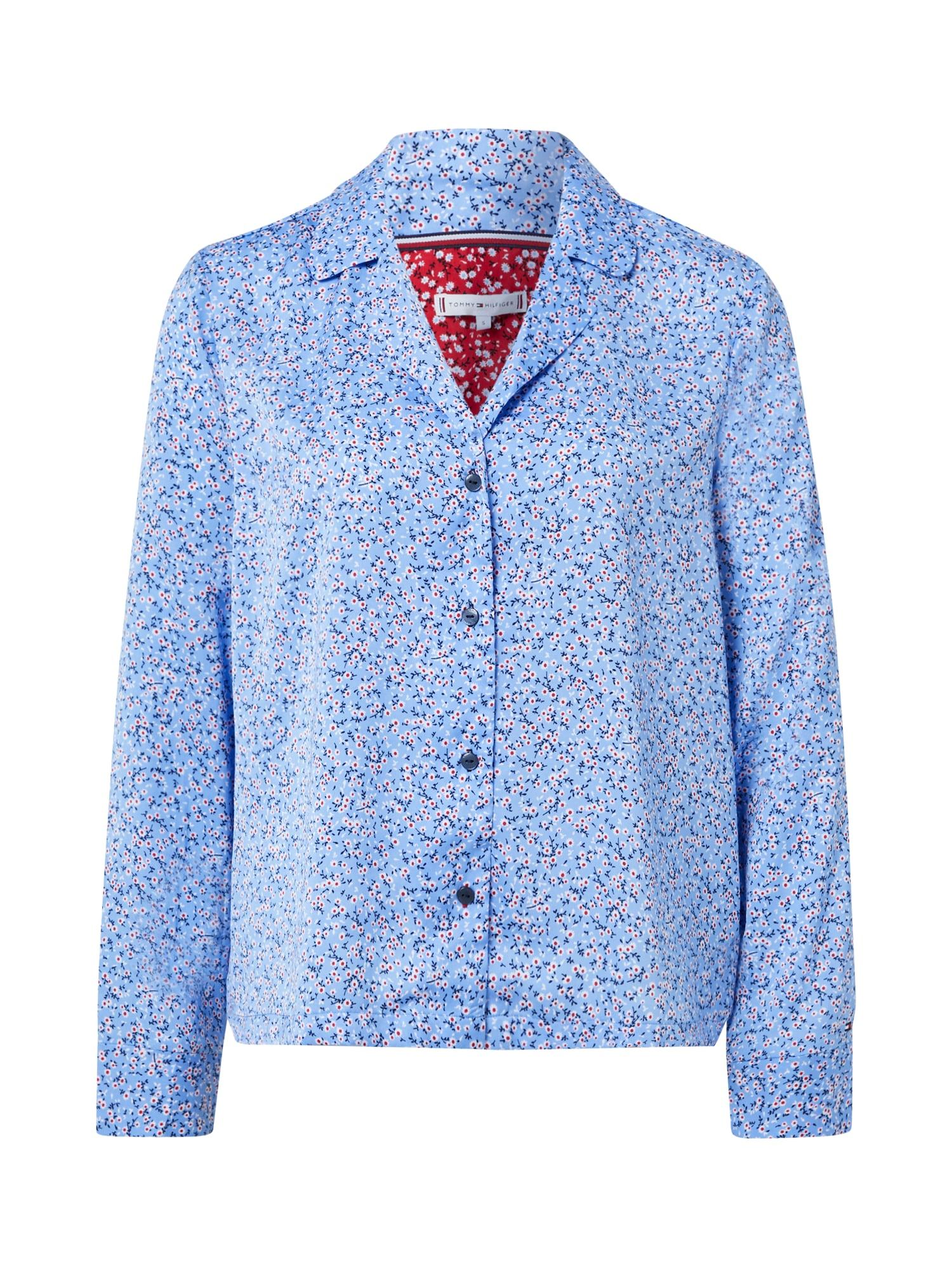Tommy Hilfiger Underwear Pižaminiai marškinėliai šviesiai mėlyna / balta / mėlyna