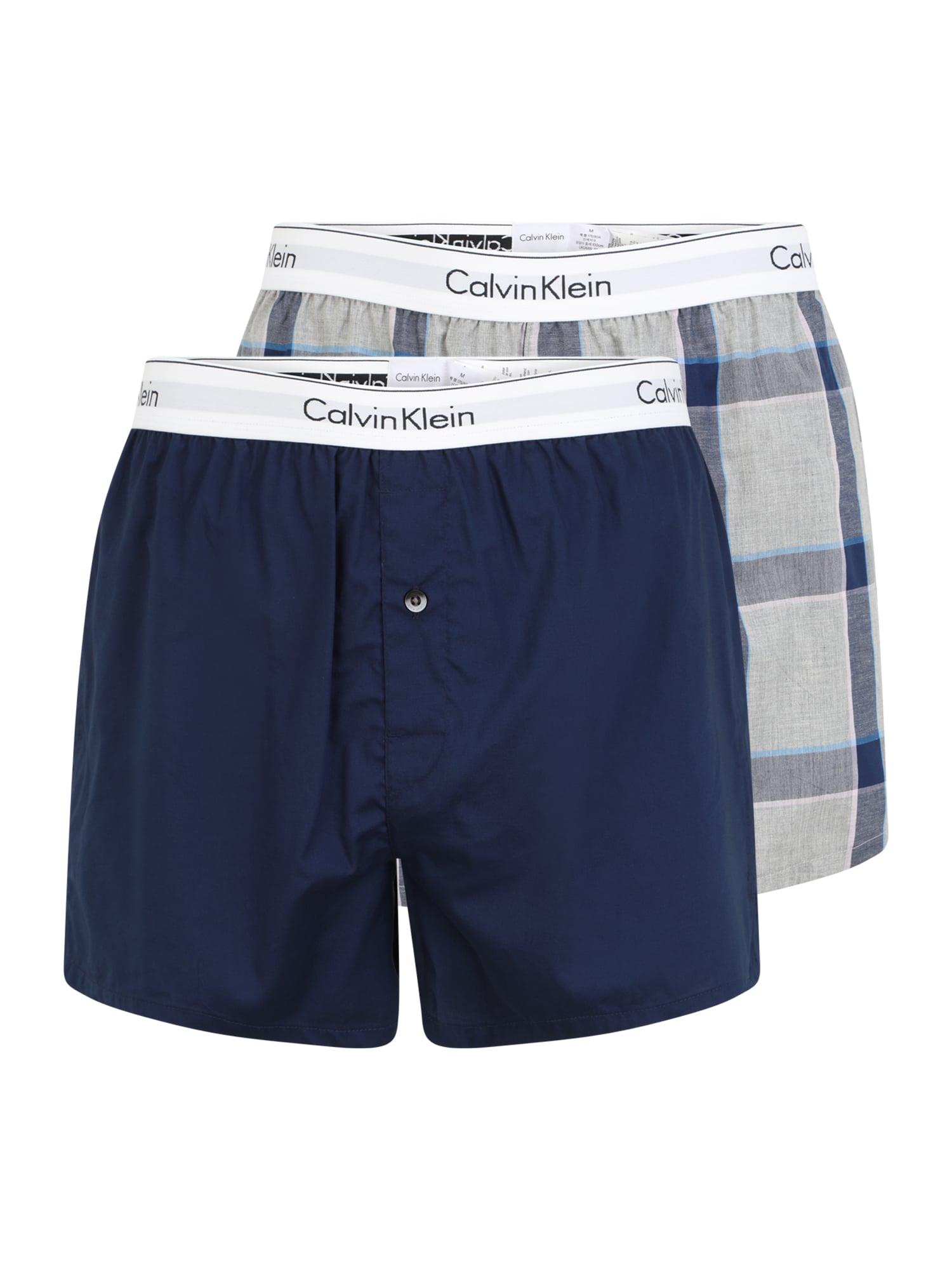 Calvin Klein Underwear Boxer trumpikės tamsiai mėlyna / balta / mėlyna dūmų spalva