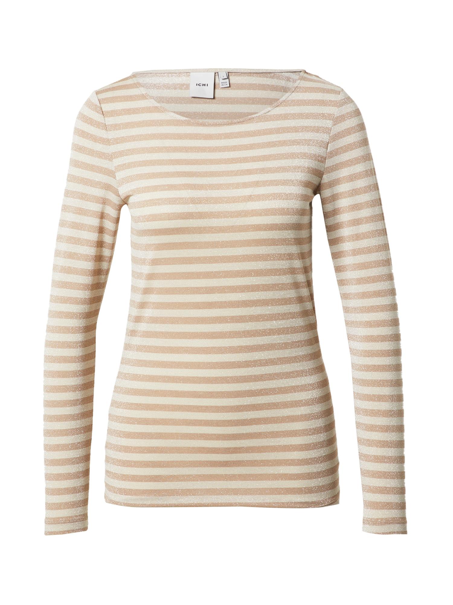 ICHI Marškinėliai gelsvai pilka spalva / kremo