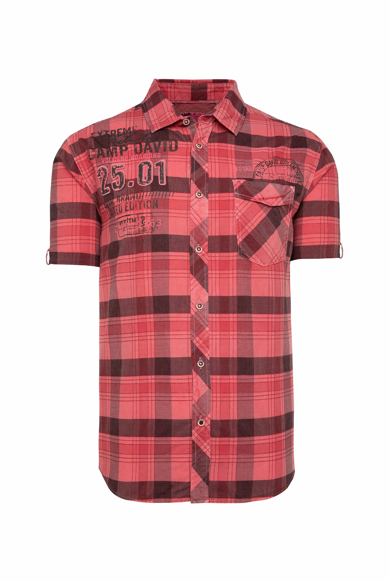 CAMP DAVID Marškiniai tamsiai raudona / juoda / šviesiai raudona
