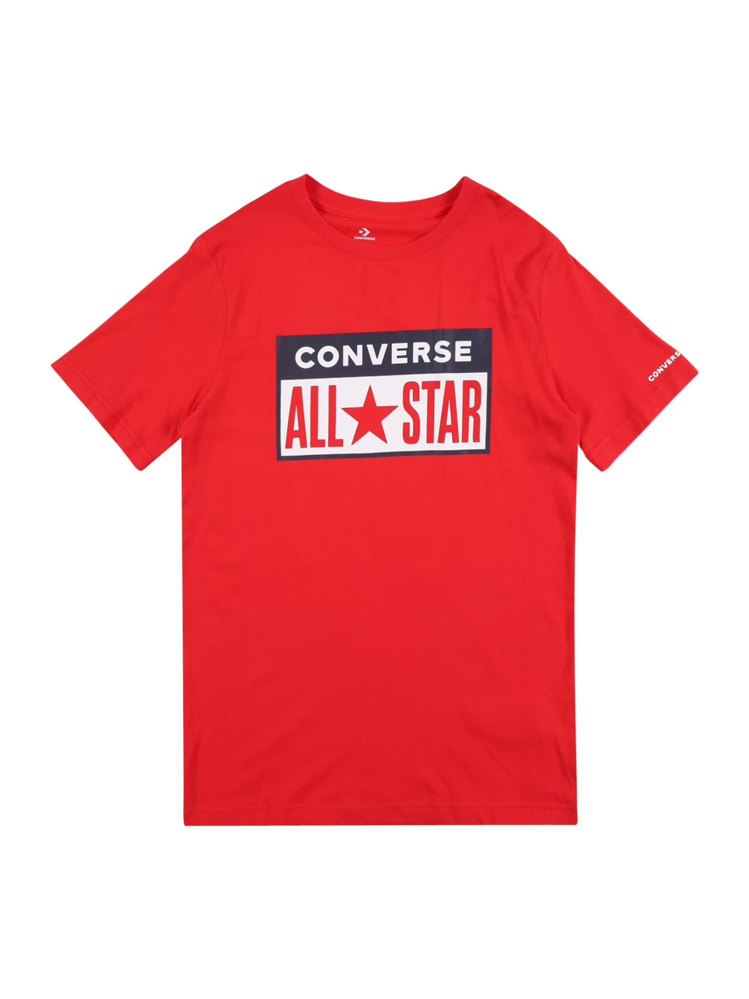 CONVERSE Marškinėliai raudona / balta / juoda