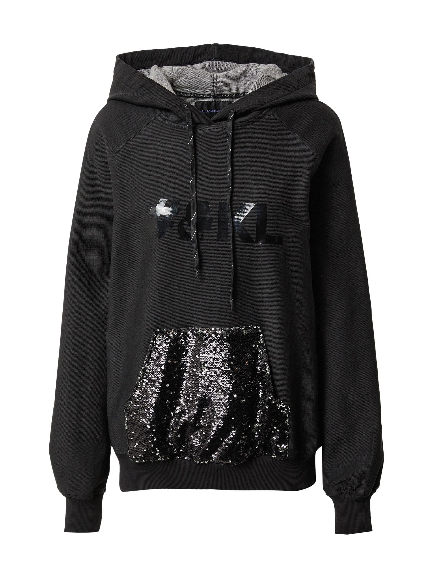 Karl Lagerfeld Denim Megztinis be užsegimo juodo džinso spalva / margai pilka / sidabrinė
