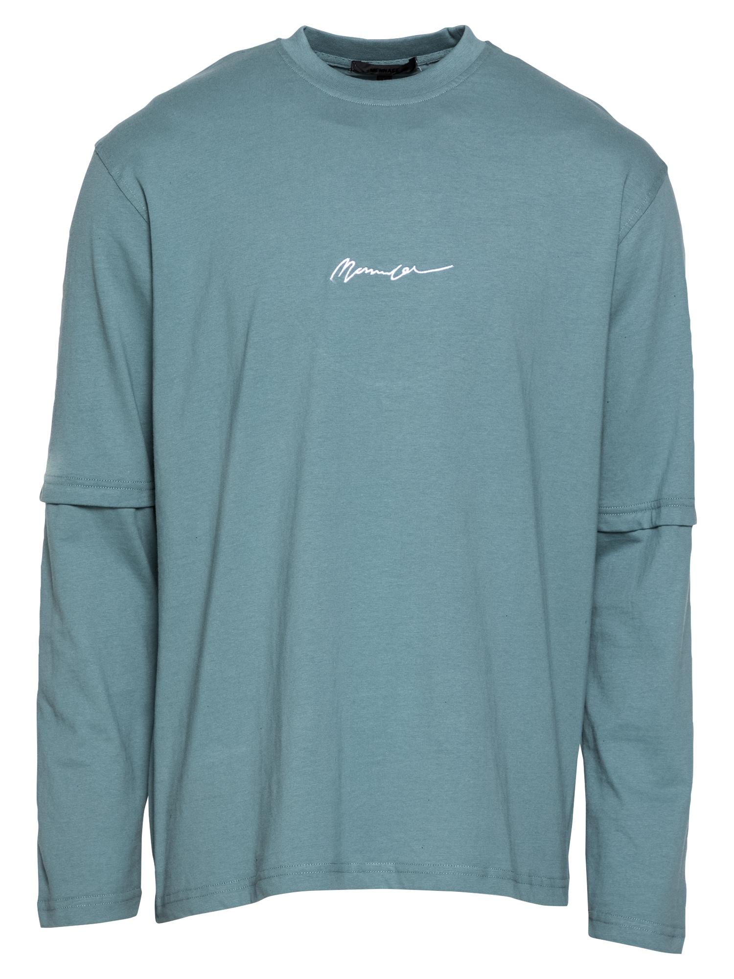 Mennace Marškinėliai pastelinė mėlyna / balta