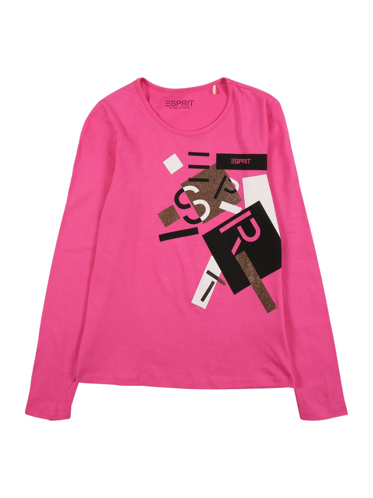 ESPRIT Tričko  pink / bílá / černá / bronzová