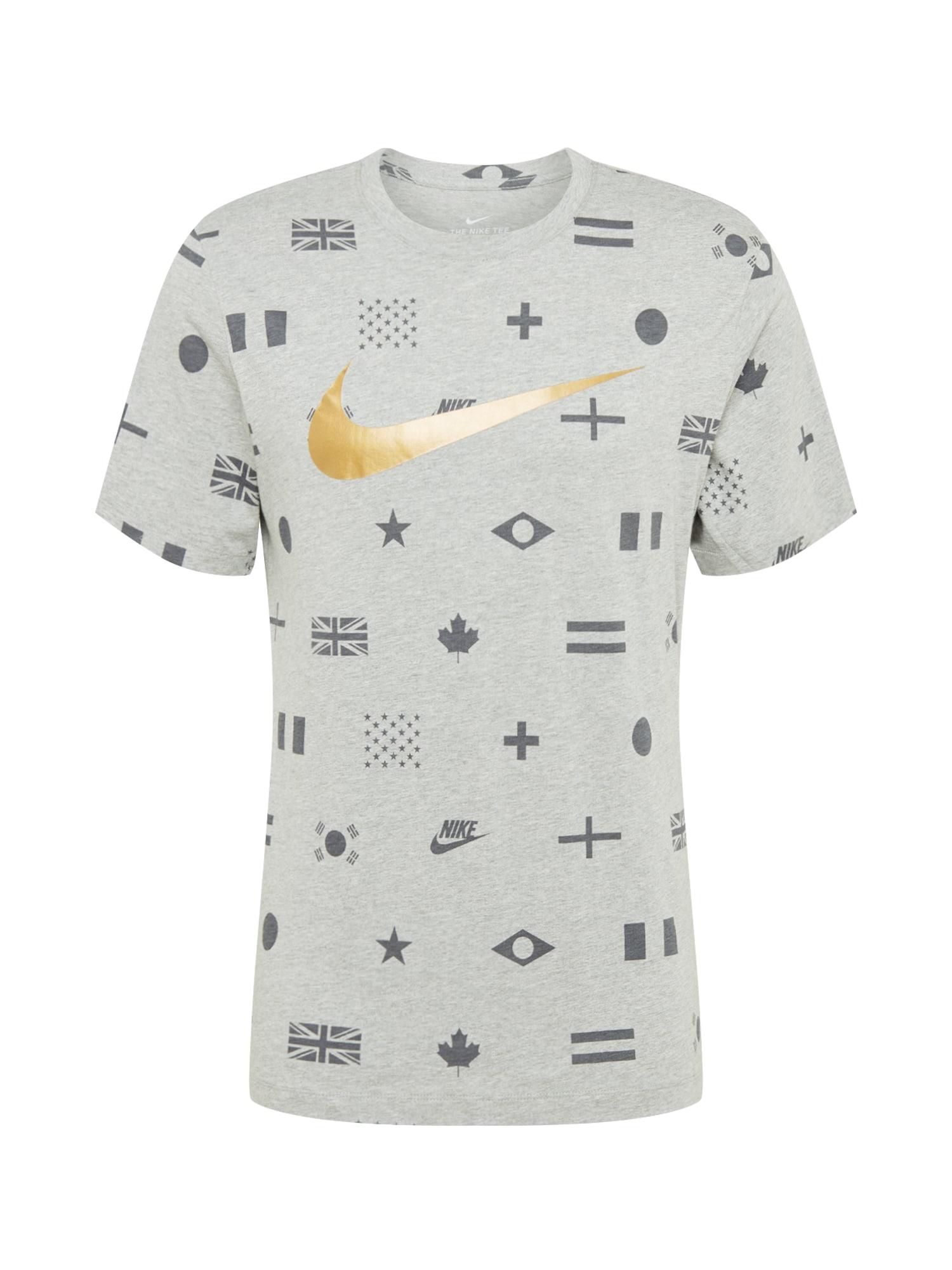 NIKE Sportiniai marškinėliai auksas / margai pilka / tamsiai pilka