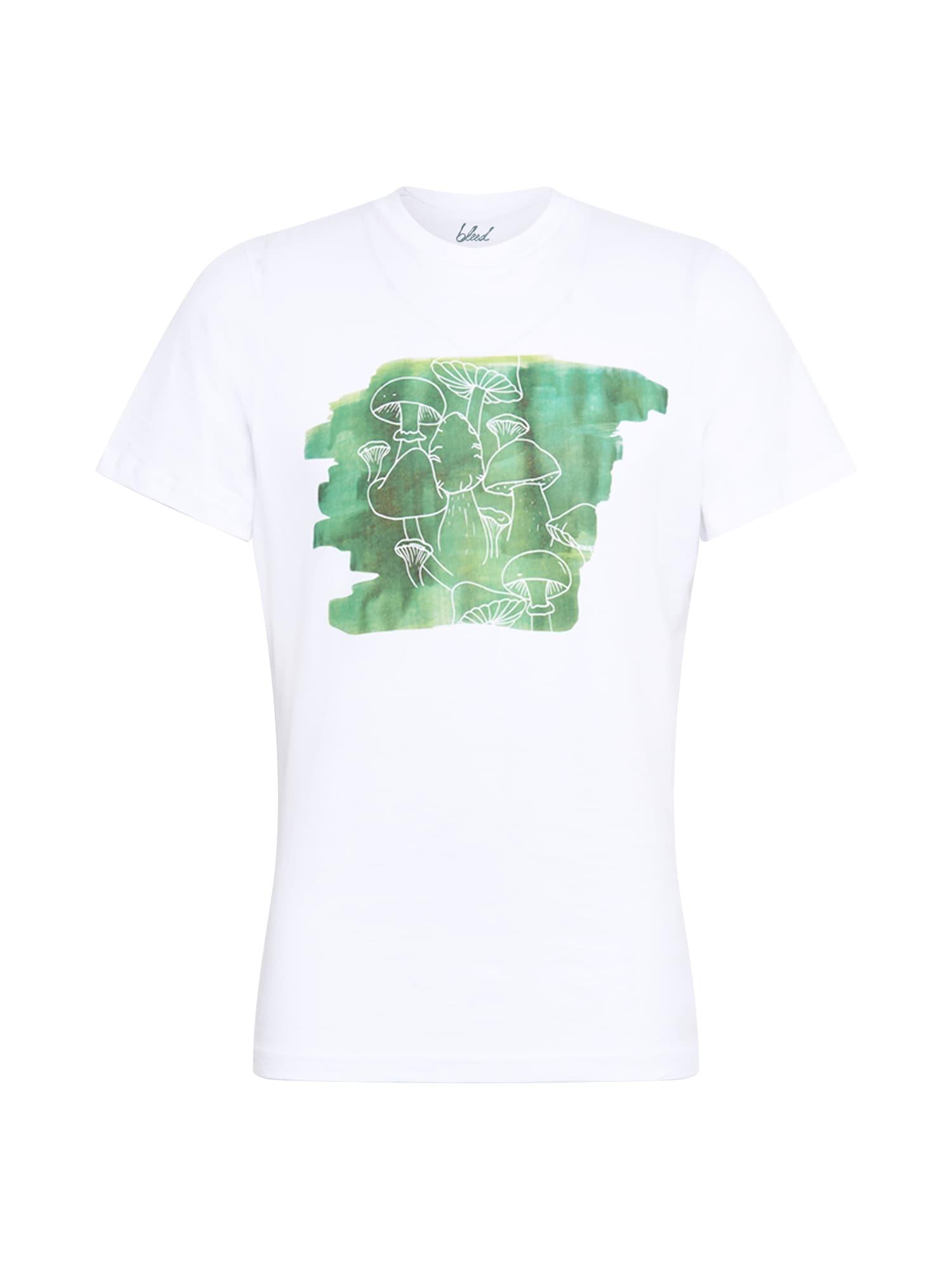 bleed clothing Marškinėliai 'Schwamma' balta / nefrito spalva / žolės žalia