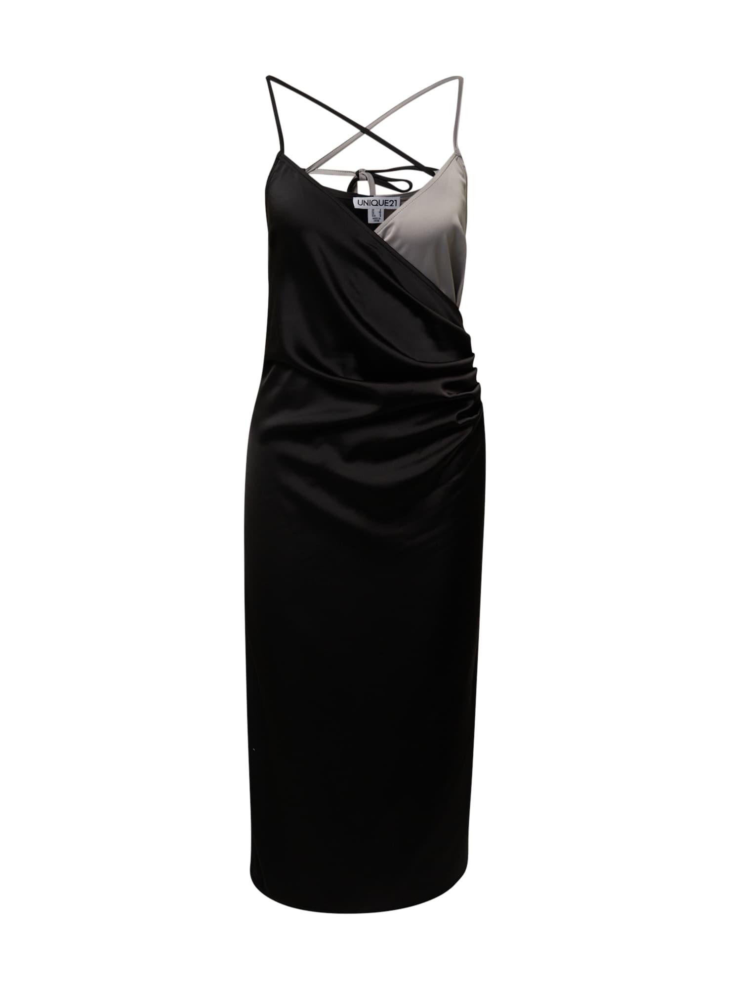 Unique21 Kokteilinė suknelė juoda / sidabro pilka