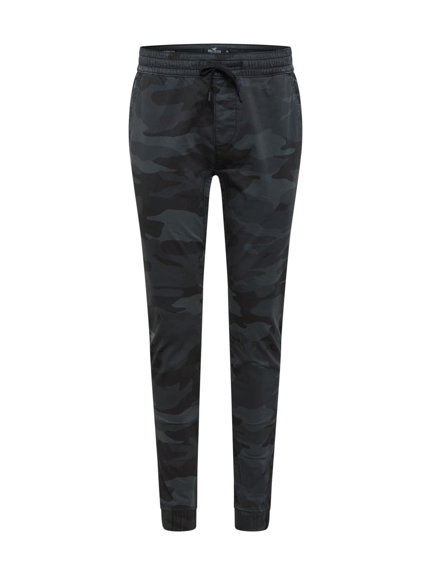 HOLLISTER Kelnės juodo džinso spalva / tamsiai žalia