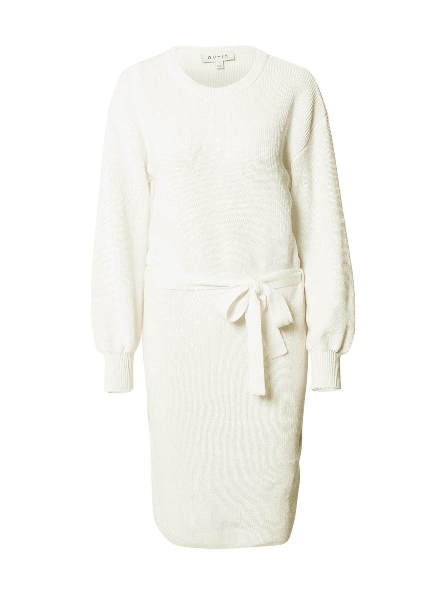 NU-IN Megzta suknelė balta