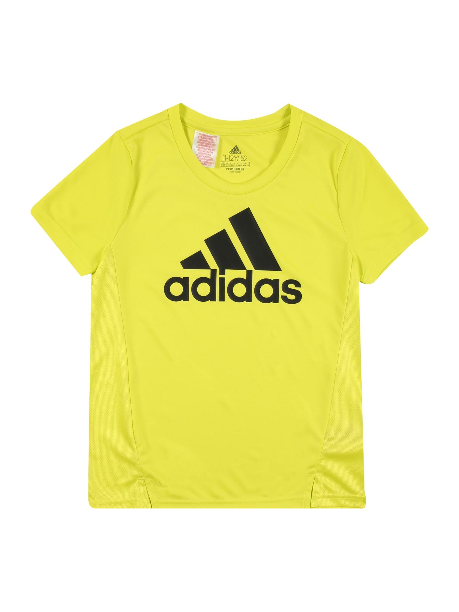 ADIDAS PERFORMANCE Sportiniai marškinėliai juoda / žaliosios citrinos spalva