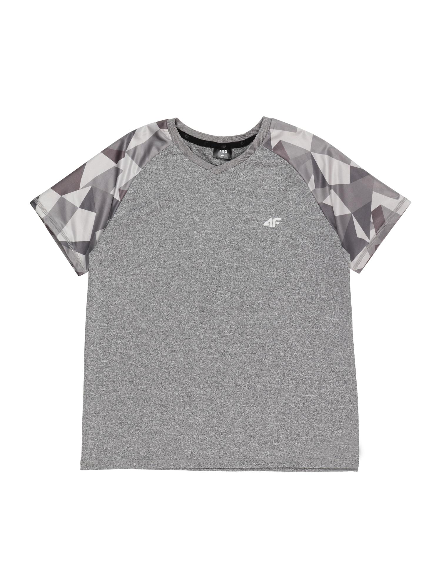 4F Sportiniai marškinėliai margai pilka / sidabro pilka