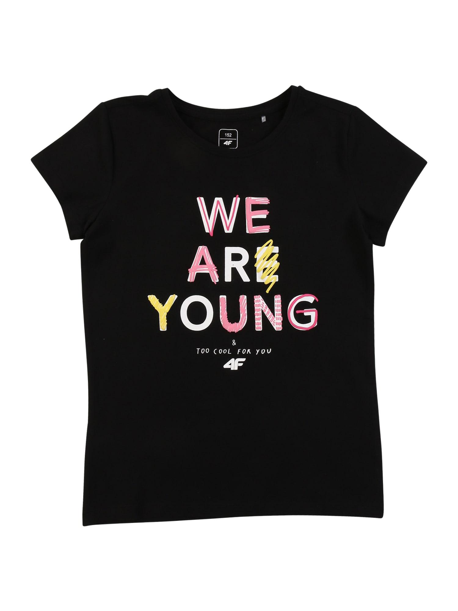 4F Sportiniai marškinėliai juoda / balta / rožinė / geltona
