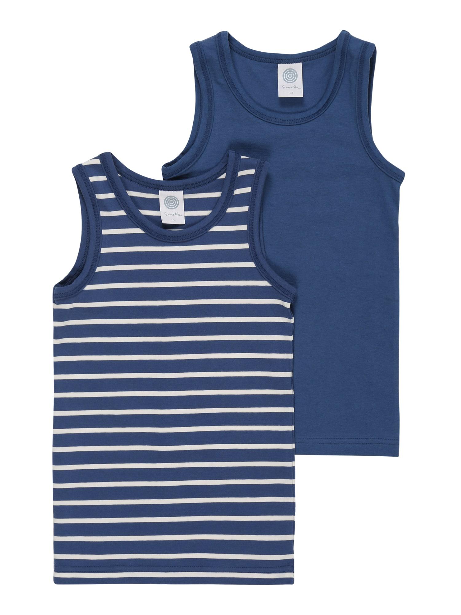 SANETTA Apatiniai marškinėliai tamsiai mėlyna / balta