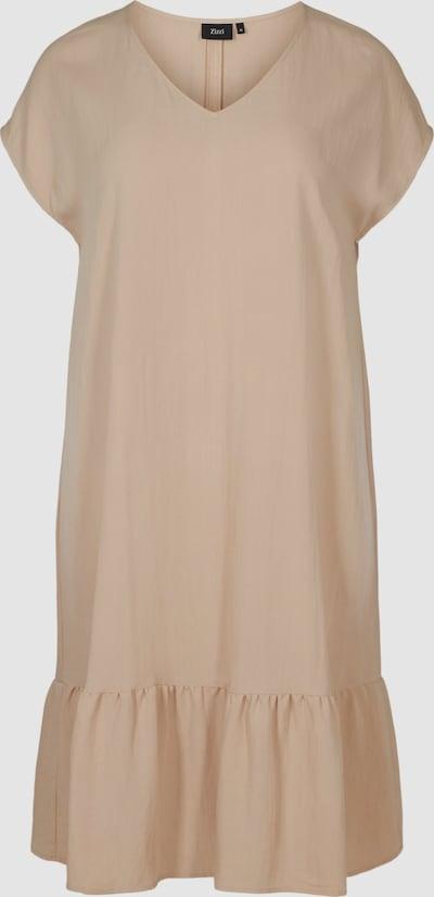 Kleid von Zizzi.  Tolles kurzarm Kleid aus angenehmer Viskosemischung mit locjerer, bequemer Passform. Das Kleid hat einen schönen V-Ausschnitt und Rüschen am Saum, die einen tollen femininen Look verleihen.