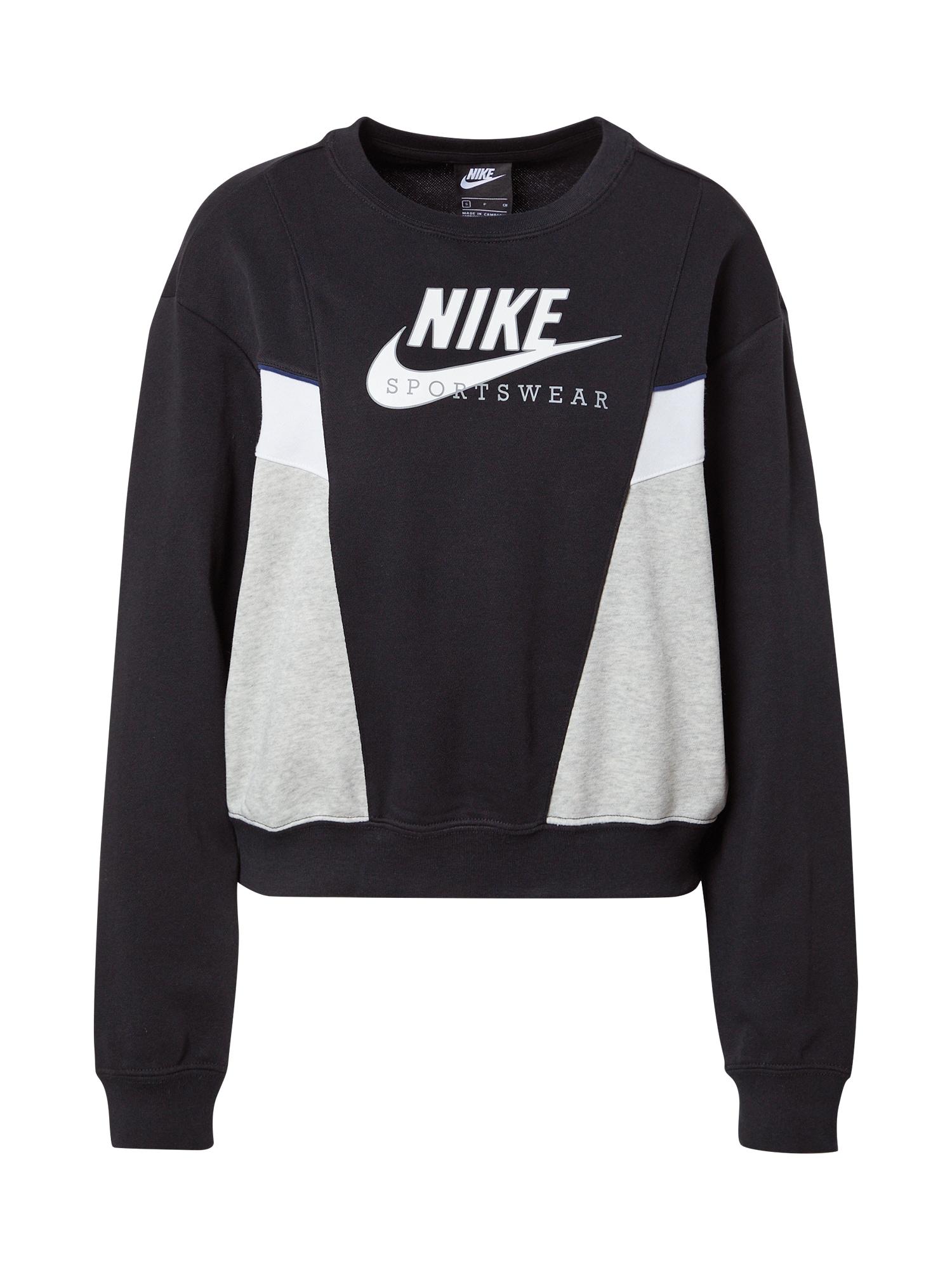 Nike Sportswear Megztinis be užsegimo 'Heritage' juoda / balta / pilka / mėlyna